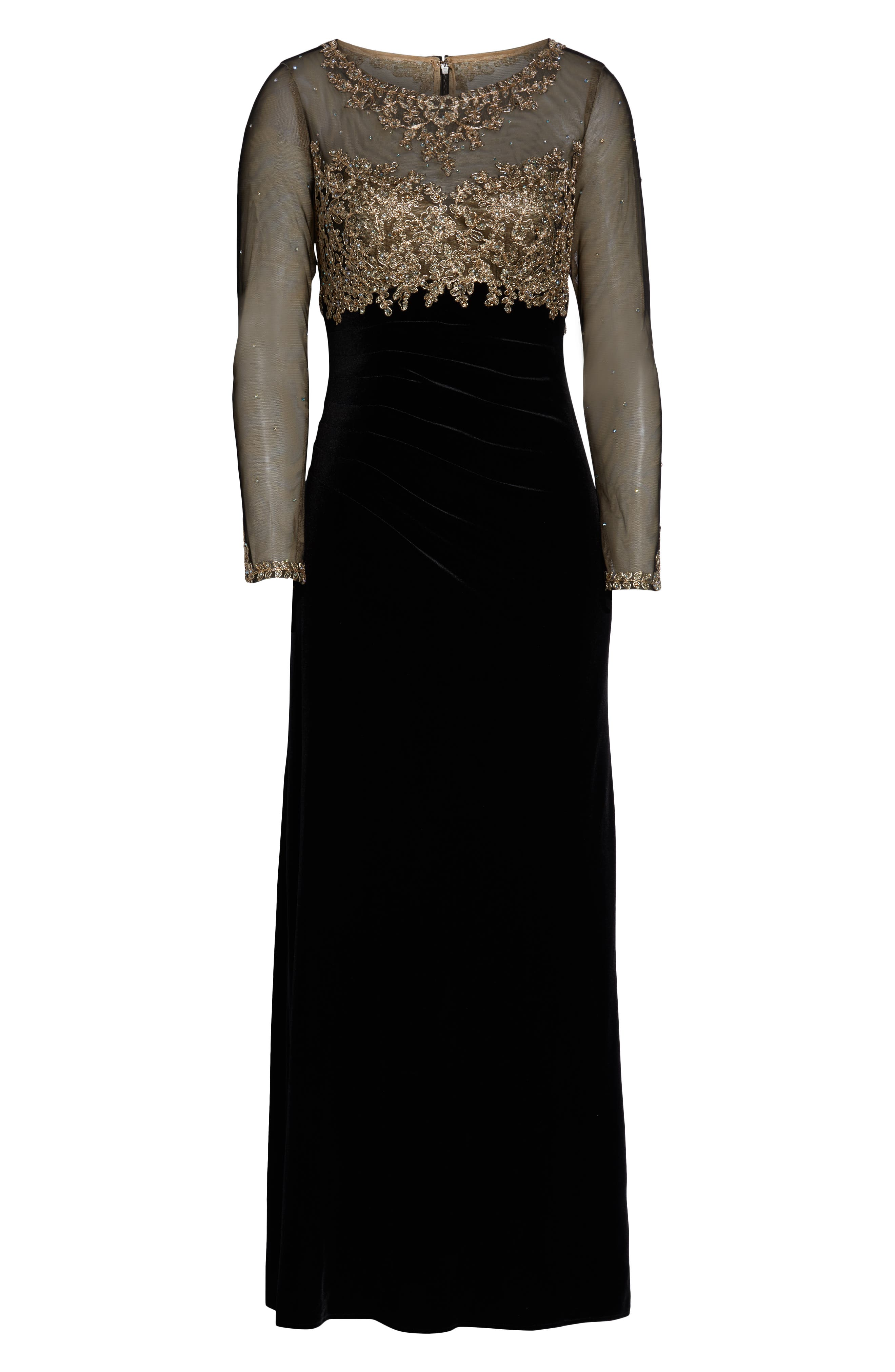 Illusion Bodice Velvet Gown,                             Alternate thumbnail 3, color,                             BLACK/ GOLD