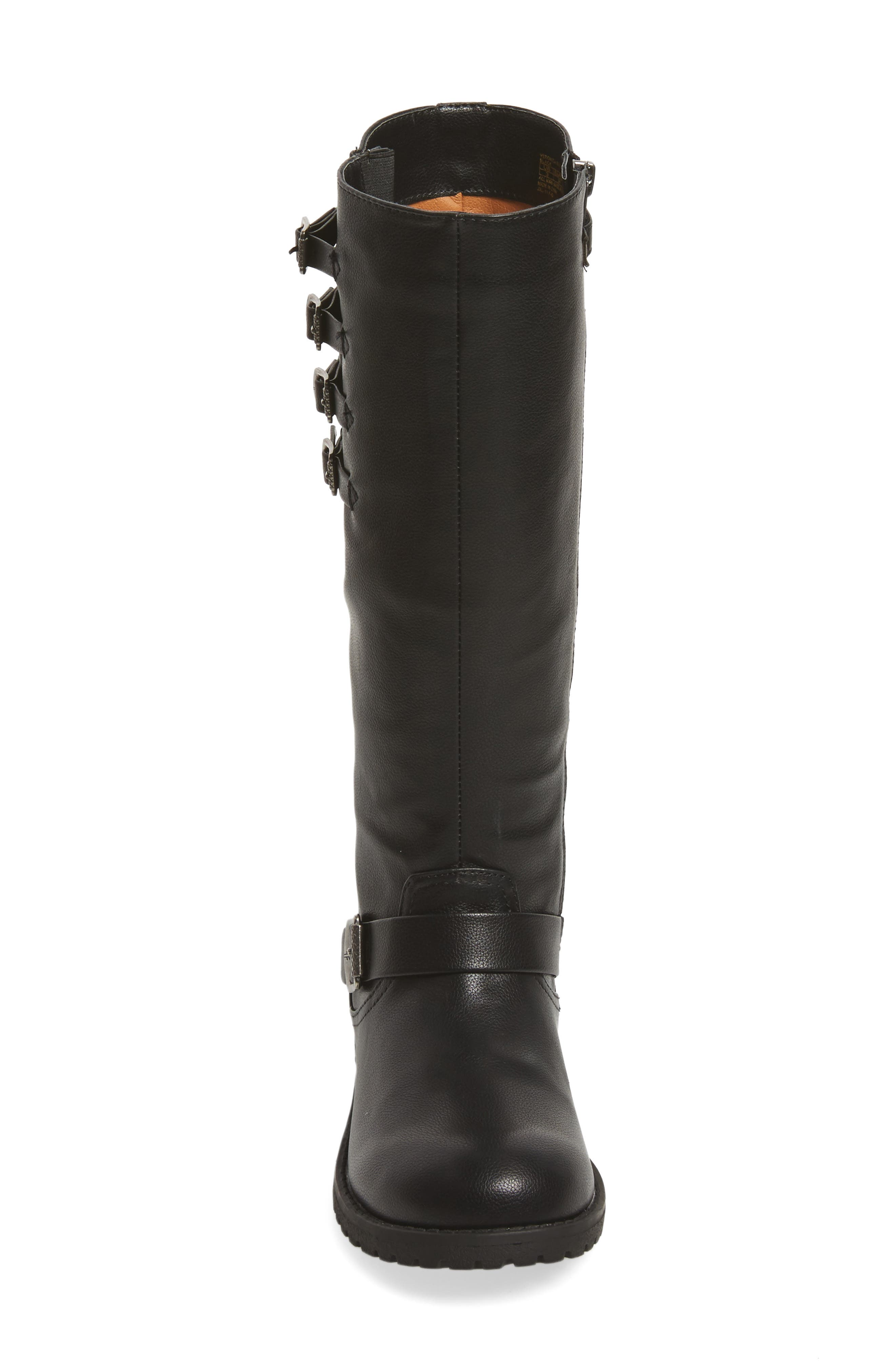 Veronica Tall Buckle Strap Boot,                             Alternate thumbnail 4, color,                             BLACK