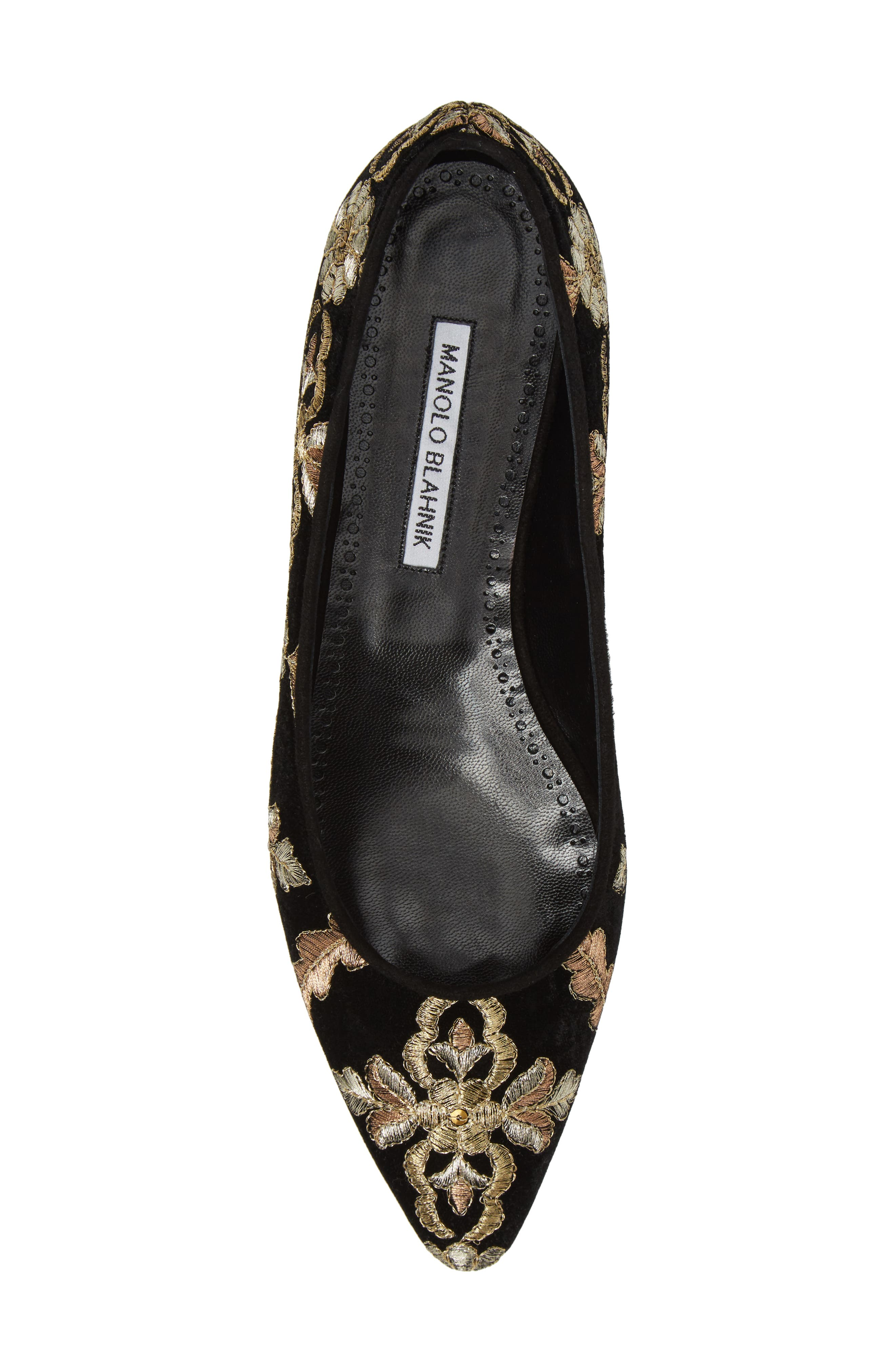 Tittermo Floral Embroidered Ballet Flat,                             Alternate thumbnail 5, color,                             001