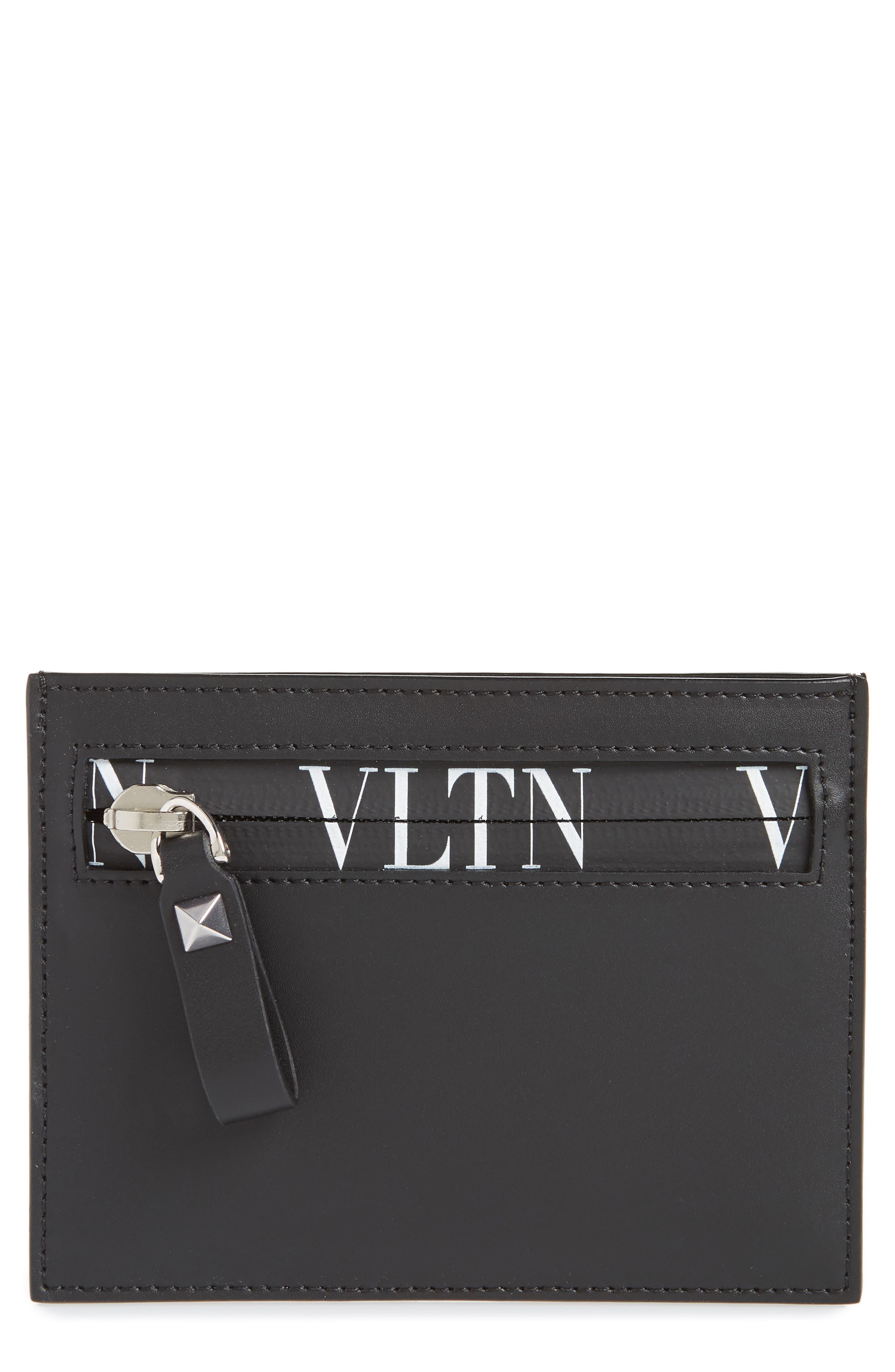 GARAVANI VLTN Logo Leather Card Case,                             Main thumbnail 1, color,                             BLACK/ WHITE