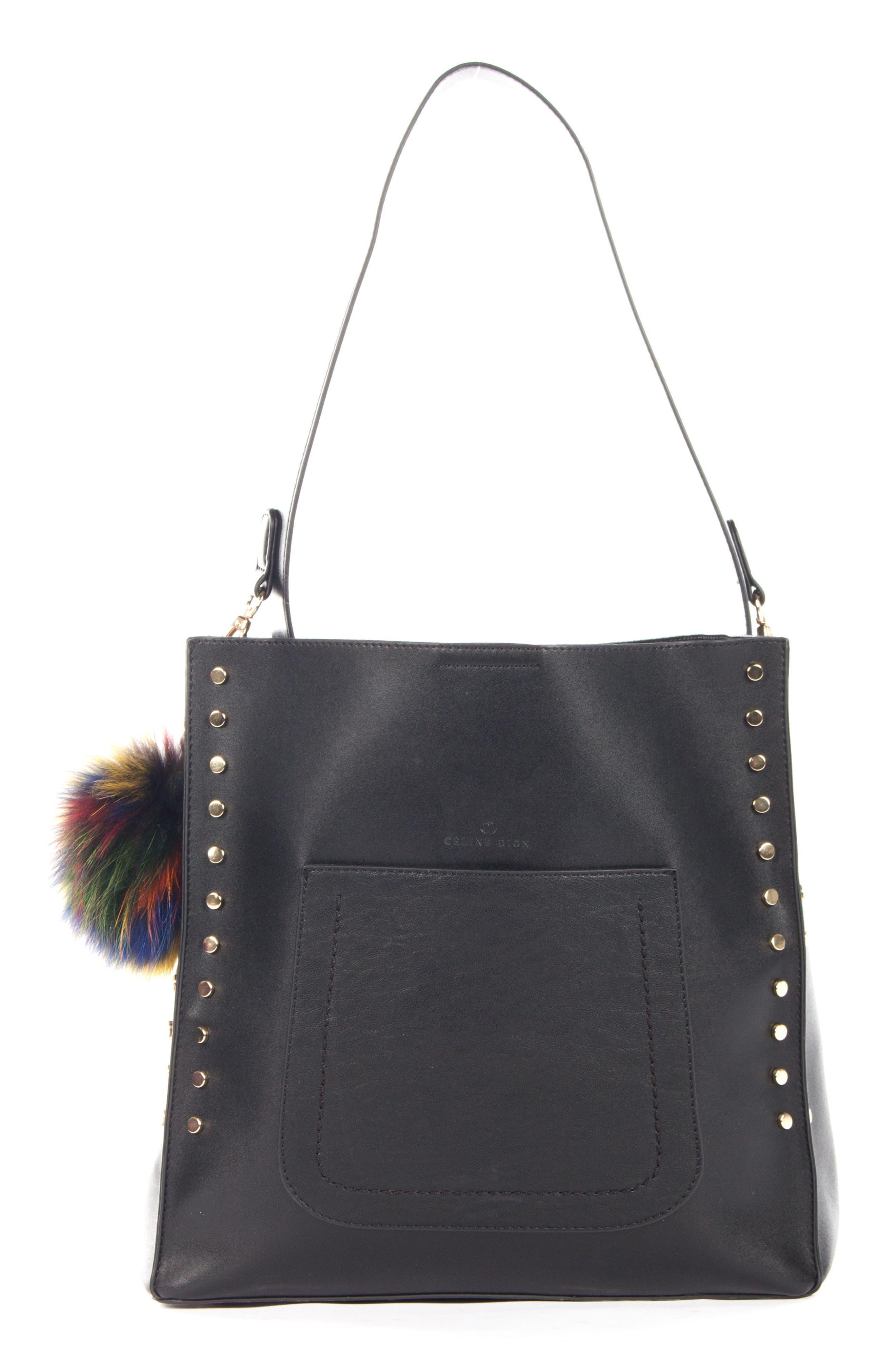 Céline Dion Pizzicato Faux Leather Hobo Bag,                             Main thumbnail 1, color,                             001