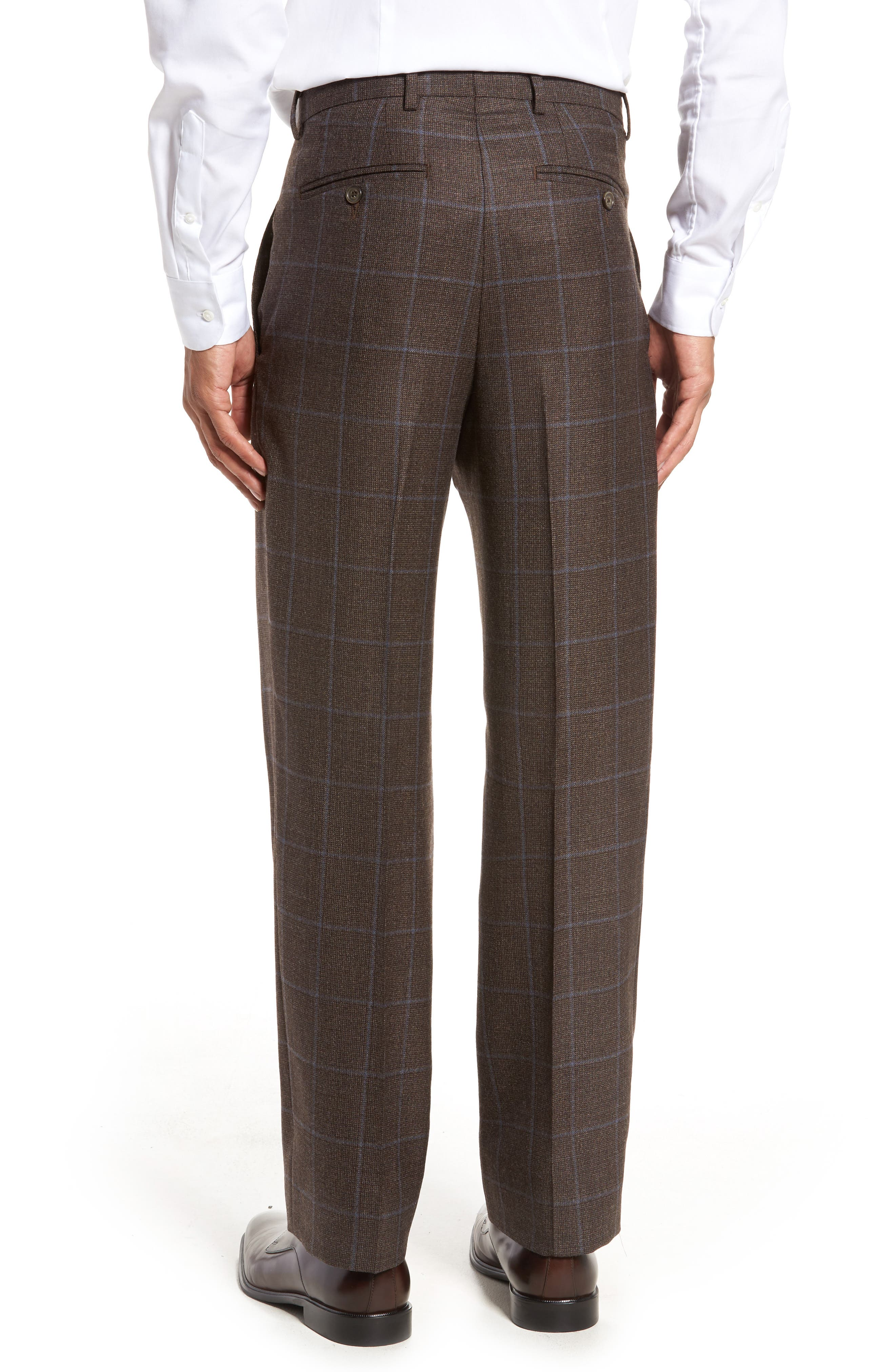 Flat Front Windowpane Wool Trousers,                             Alternate thumbnail 3, color,                             200