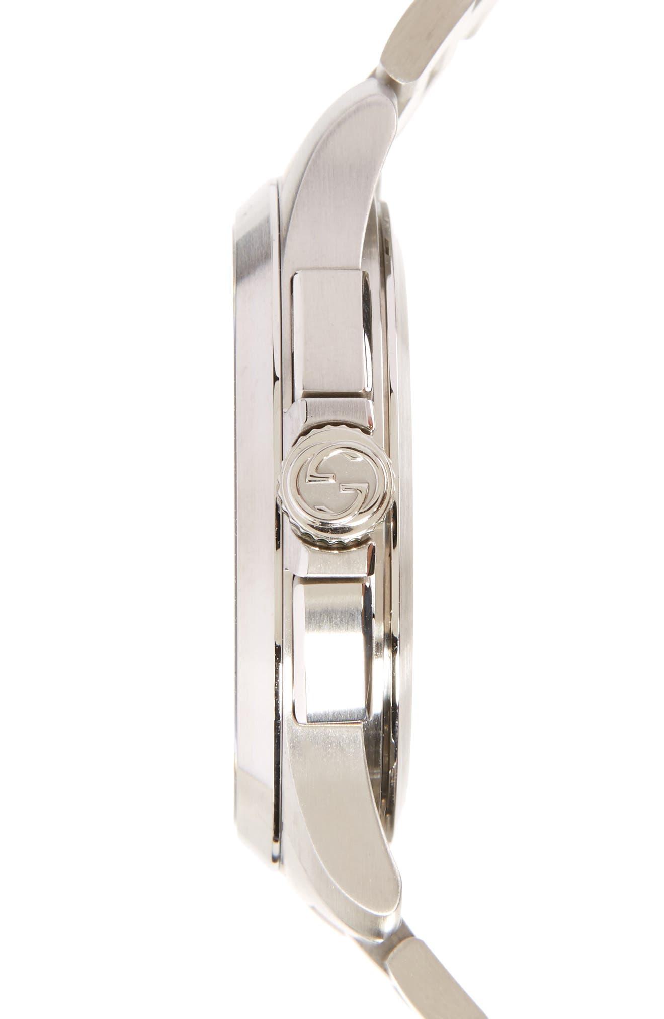 G Timeless Chronograph Bracelet Watch, 45mm,                             Alternate thumbnail 3, color,                             SILVER/ BLACK/ SILVER