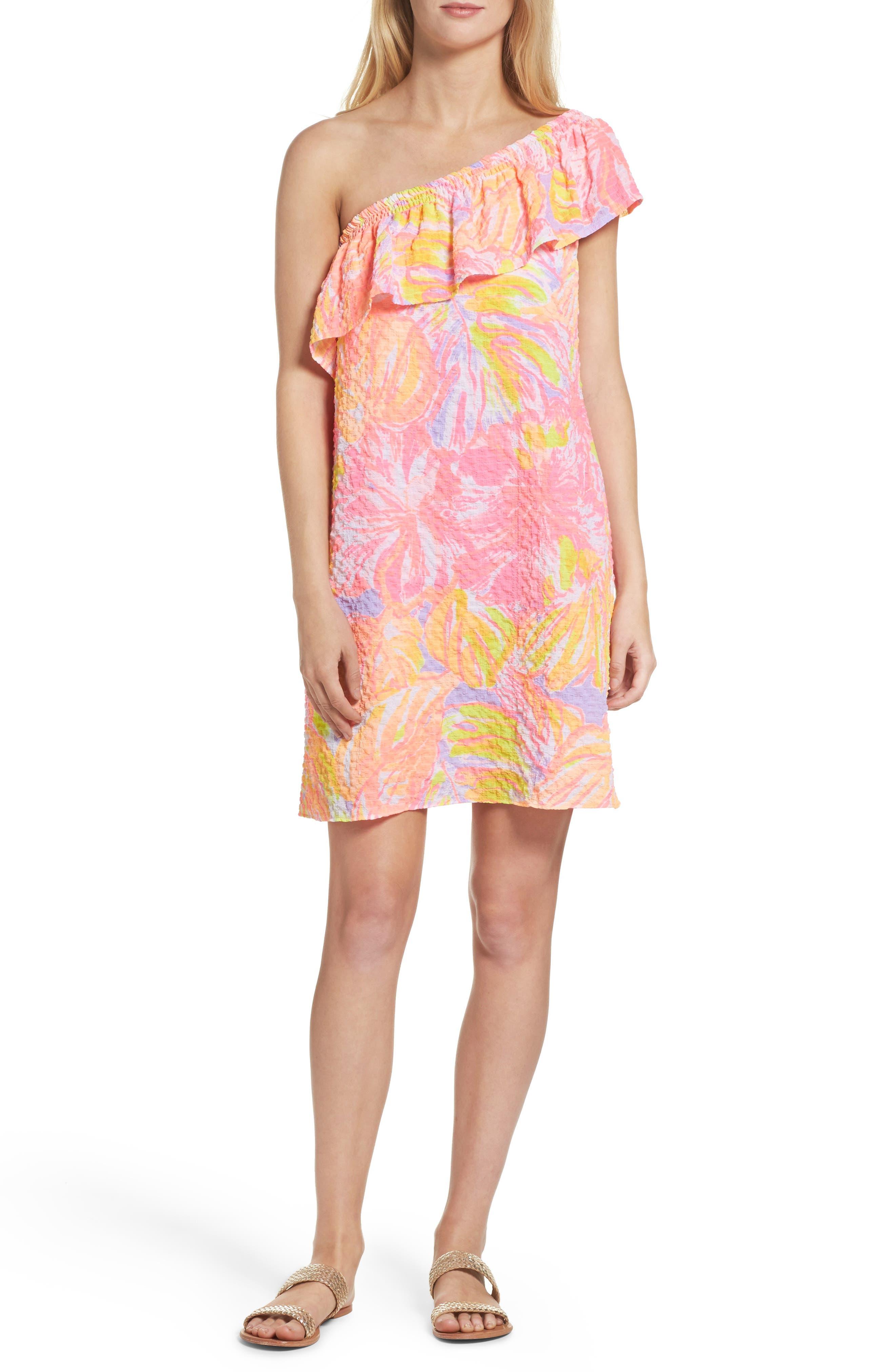 Emmeline One-Shoulder Dress,                             Alternate thumbnail 5, color,                             599