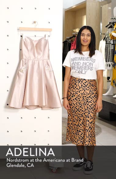 Embellished Satin Fit & Flare Dress, sales video thumbnail