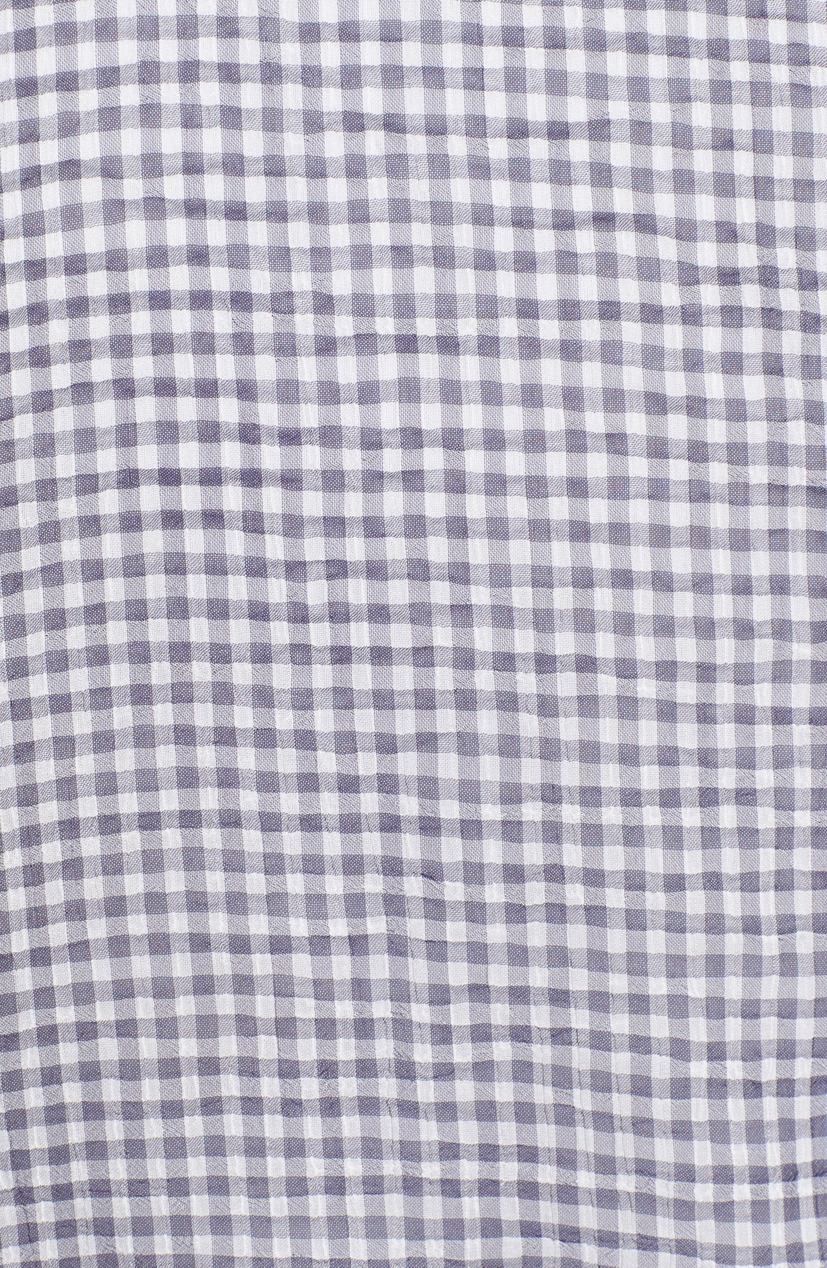 Heather Tie Front Top,                             Alternate thumbnail 6, color,                             MICRO NAVY CHECK