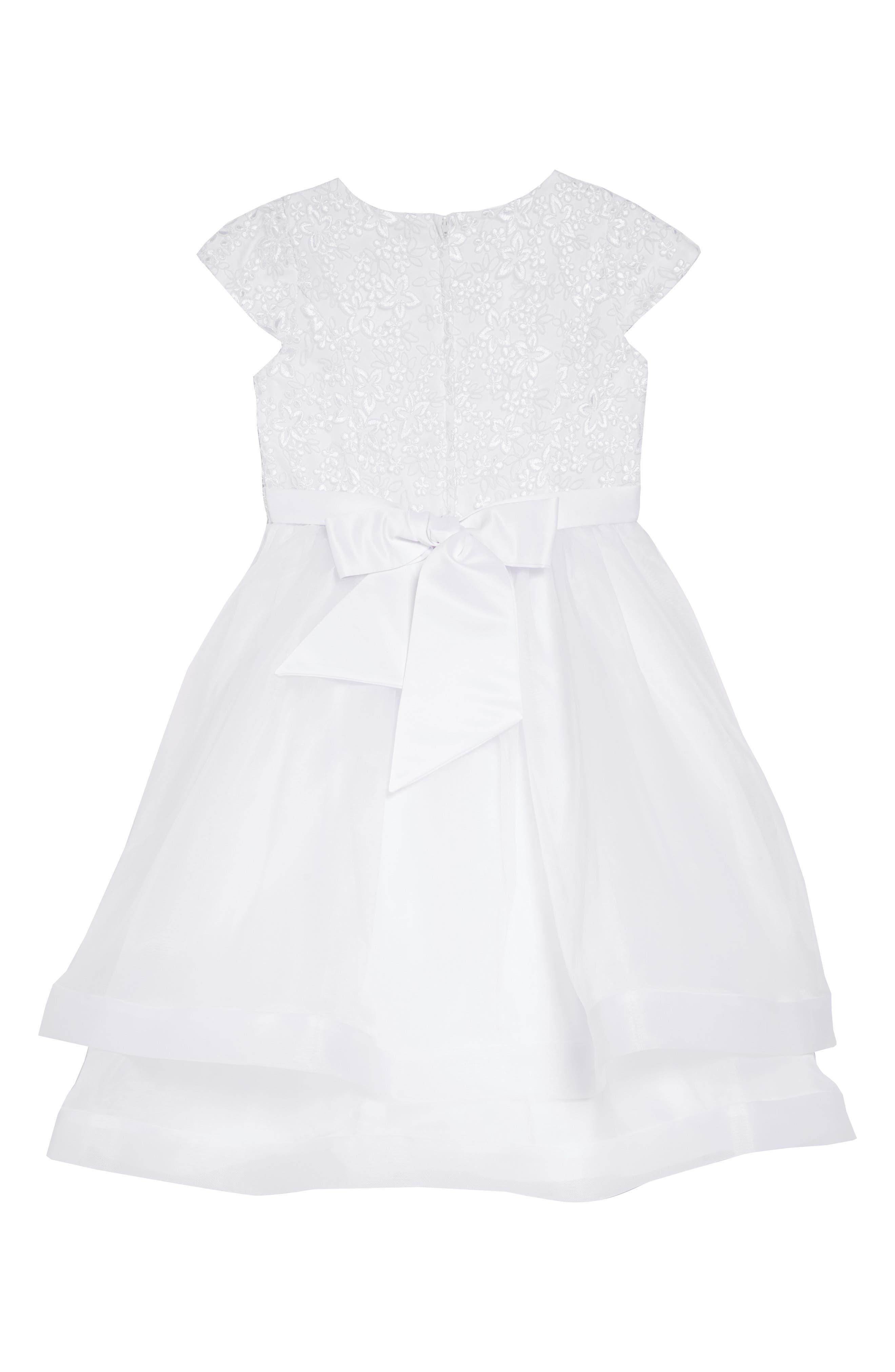 Sleeveless Embroidered & Beaded Communion Dress,                             Alternate thumbnail 2, color,                             WHITE