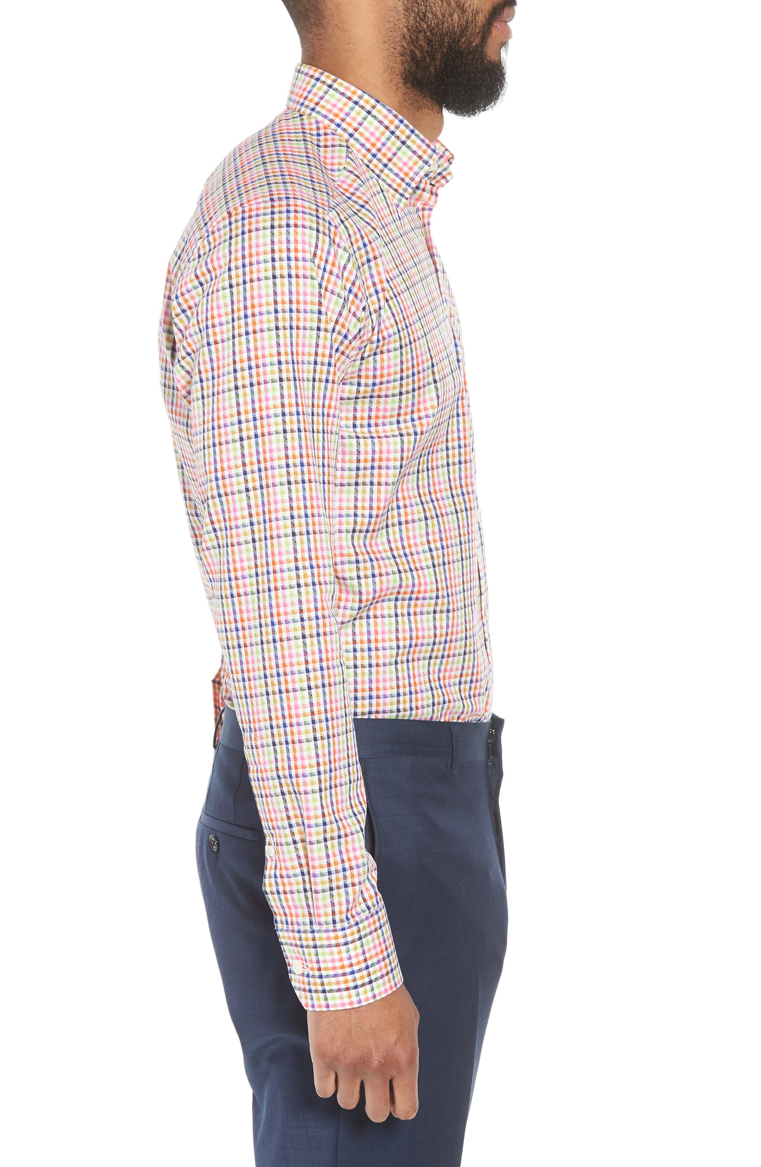 Slim Fit Check Dress Shirt,                             Alternate thumbnail 4, color,