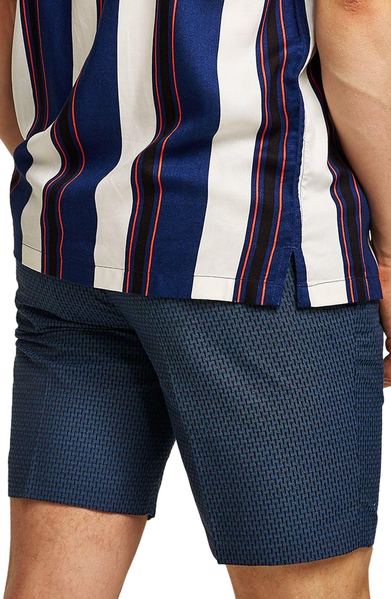 Mini Check Classic Fit Shorts,                             Alternate thumbnail 2, color,                             BLUE
