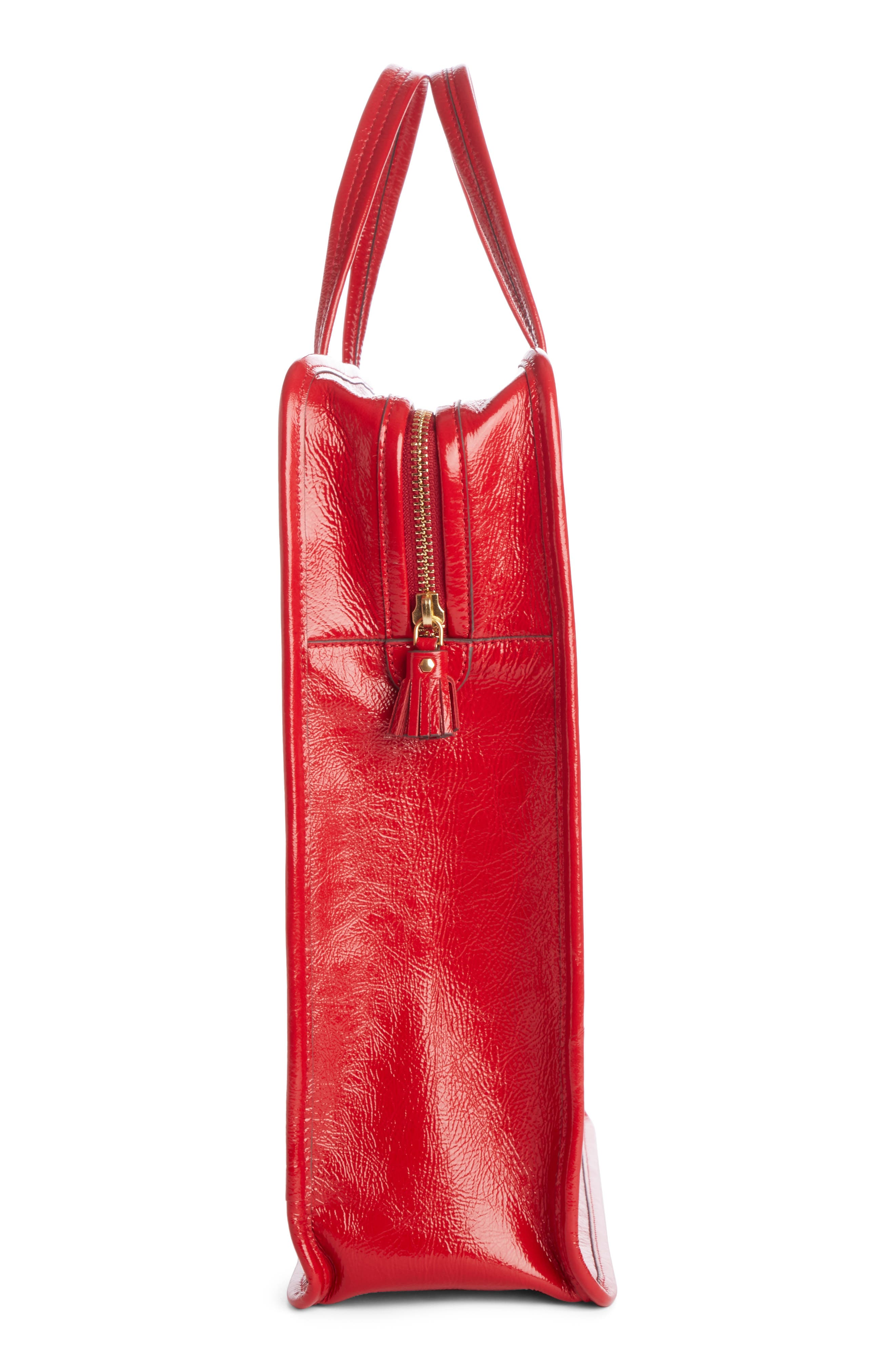 Rainy Day Cherries Tote,                             Alternate thumbnail 3, color,                             RED
