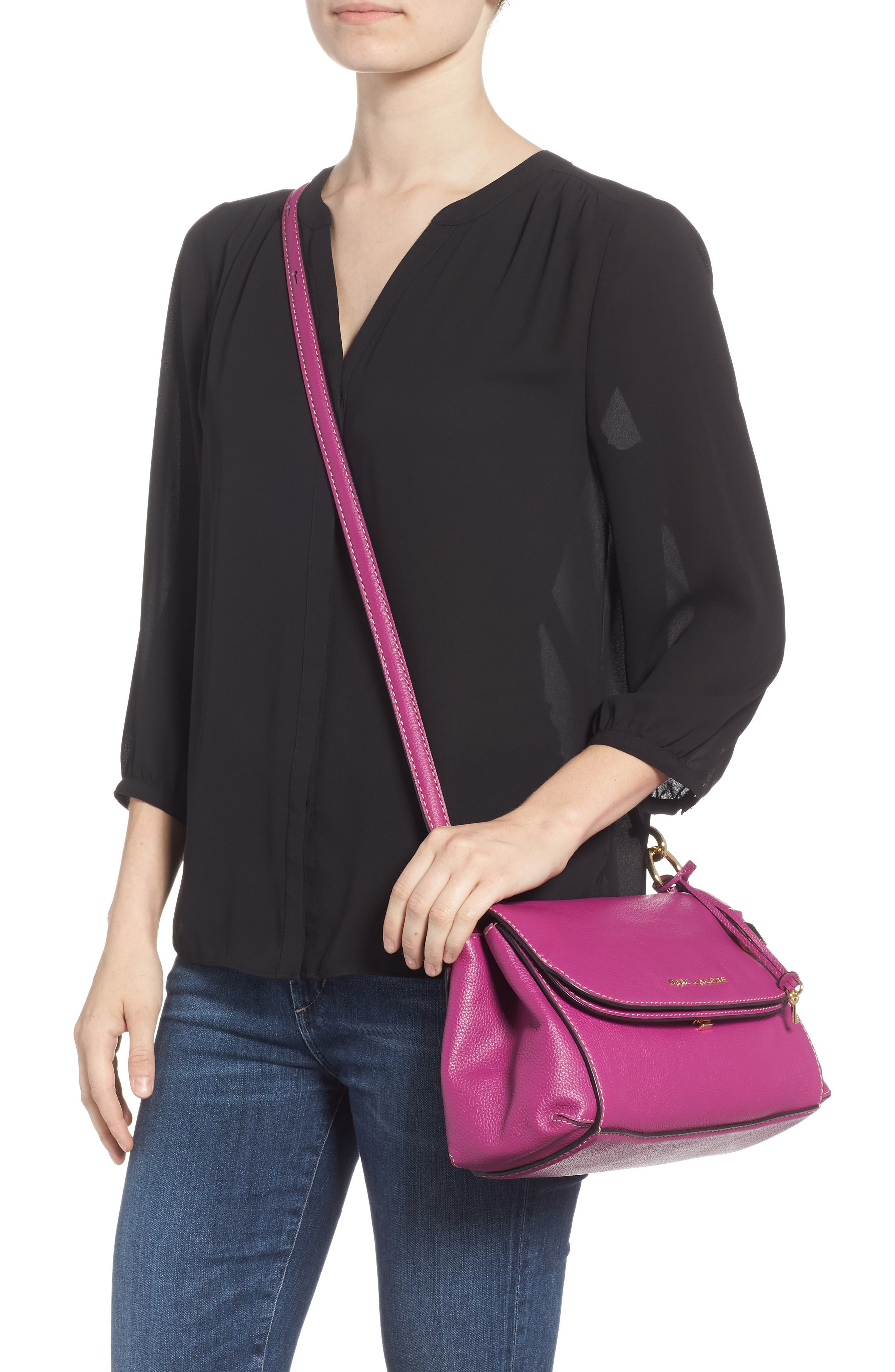 The Grind Boho Leather Shoulder Bag,                             Alternate thumbnail 2, color,                             RHUBARB
