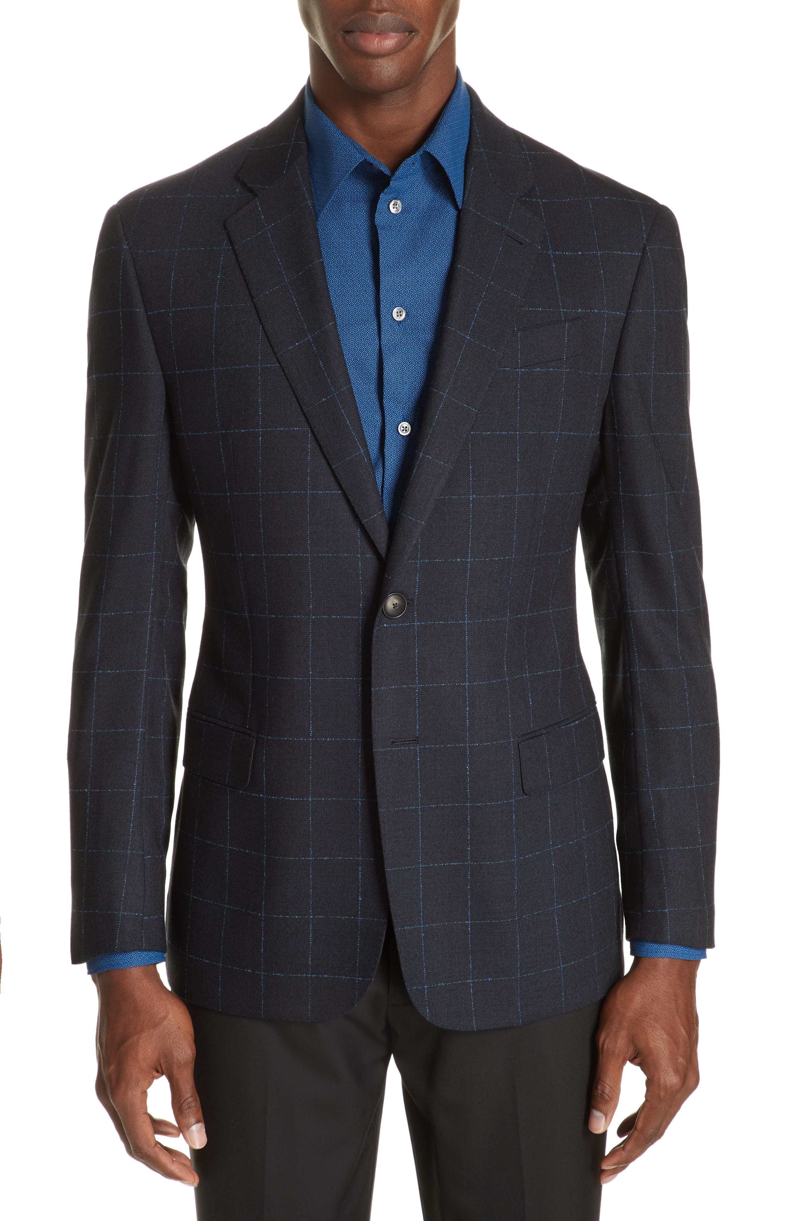 G-Line Trim Fit Stretch Windowpane Sport Coat,                             Main thumbnail 1, color,                             NAVY