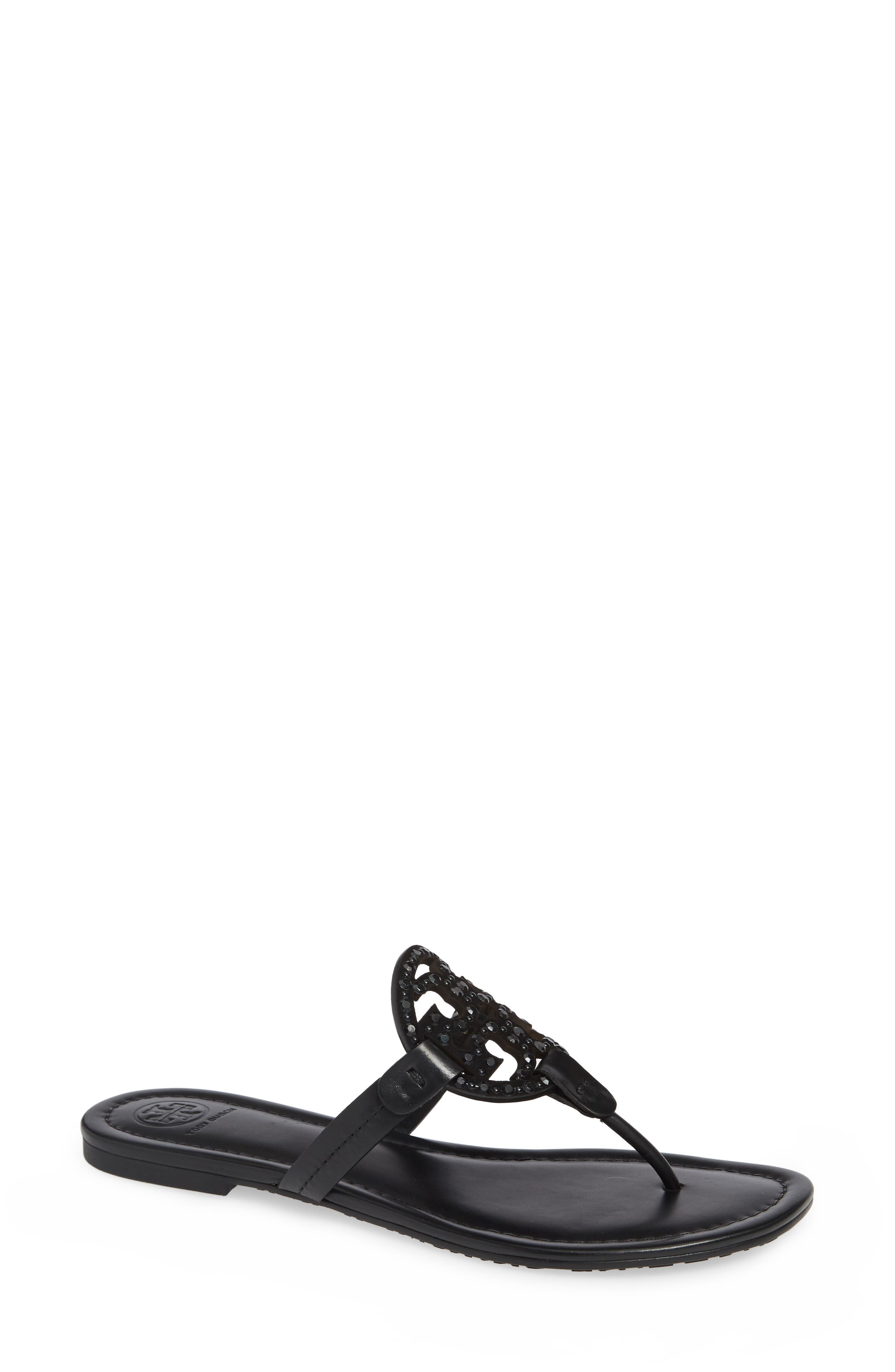 Miller Embellished Sandal,                             Main thumbnail 1, color,                             PERFECT BLACK