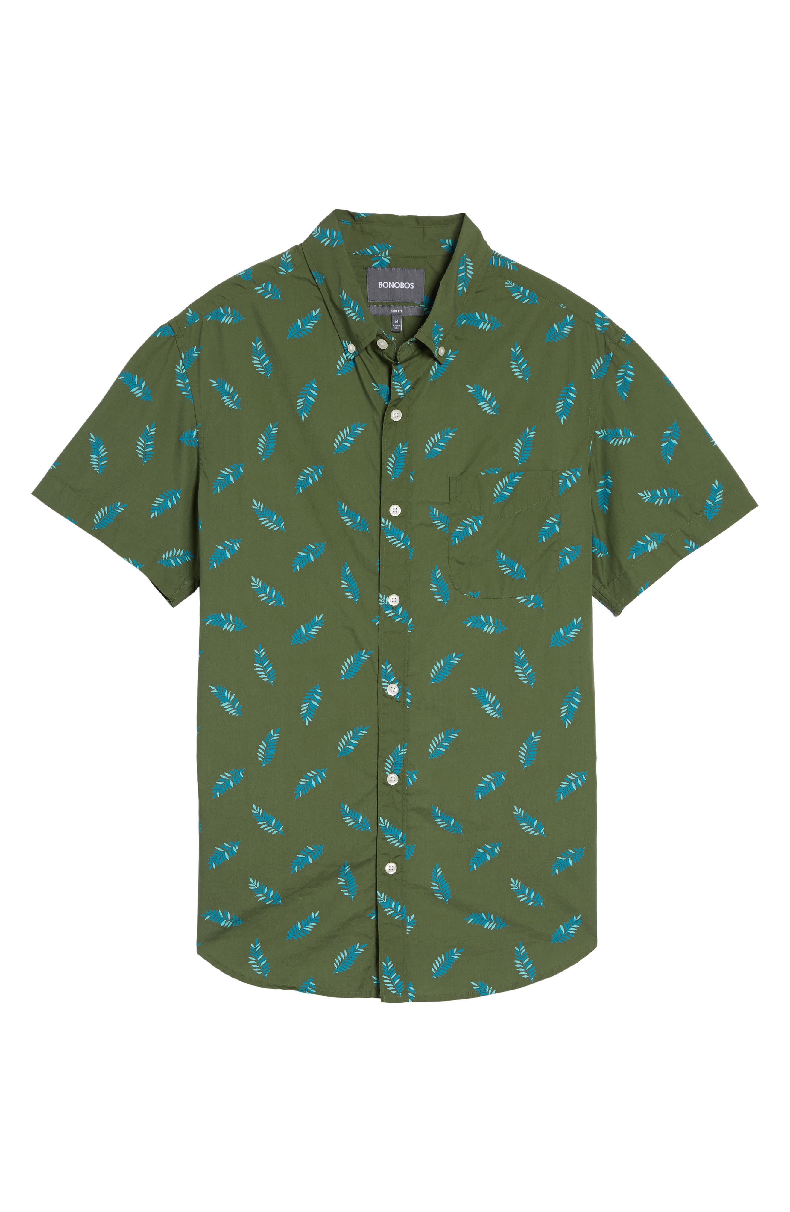 Riviera Fern Print Woven Shirt,                             Alternate thumbnail 6, color,                             300