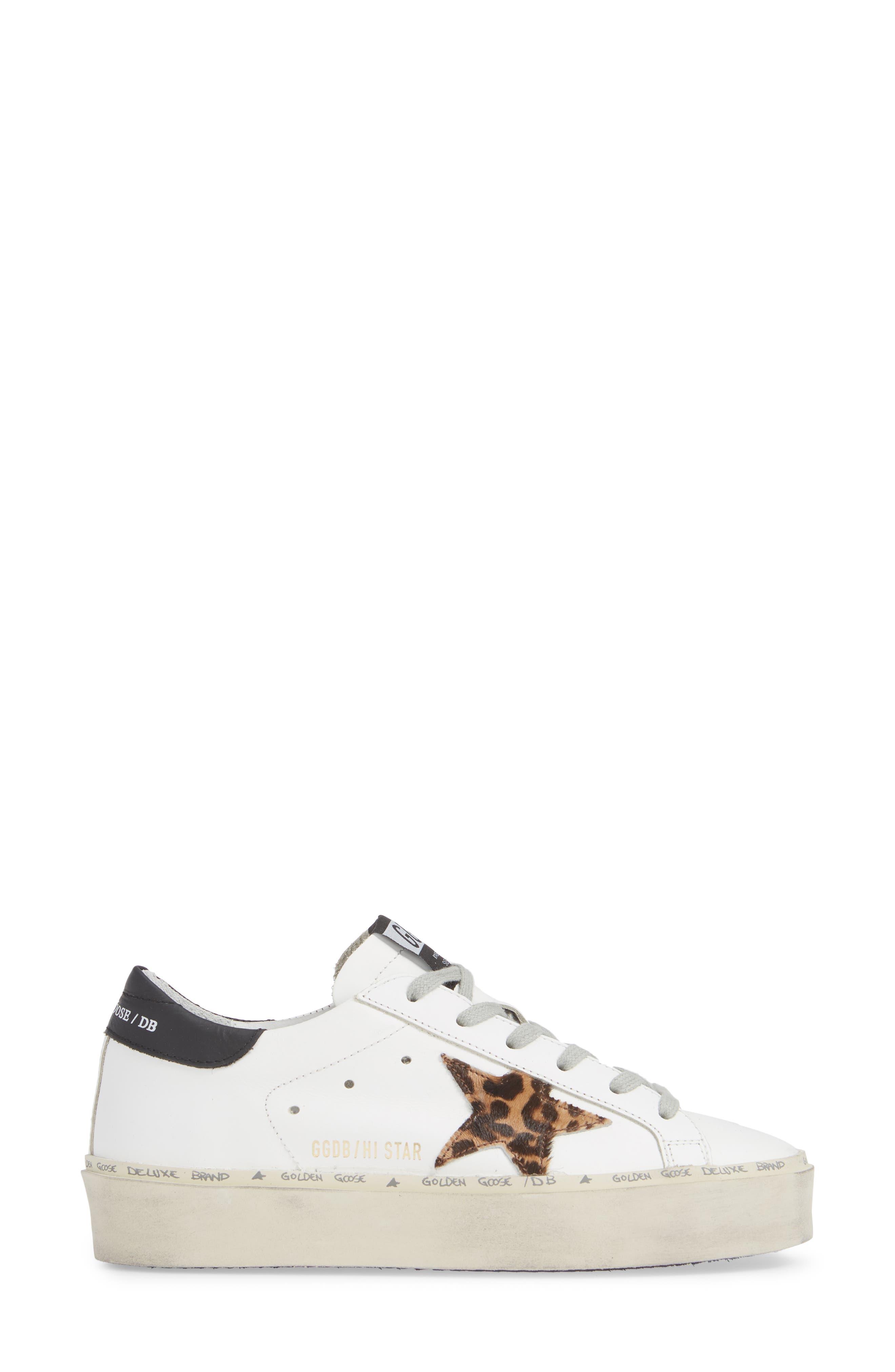 Hi Star Genuine Calf Hair Platform Sneaker,                             Alternate thumbnail 3, color,                             100