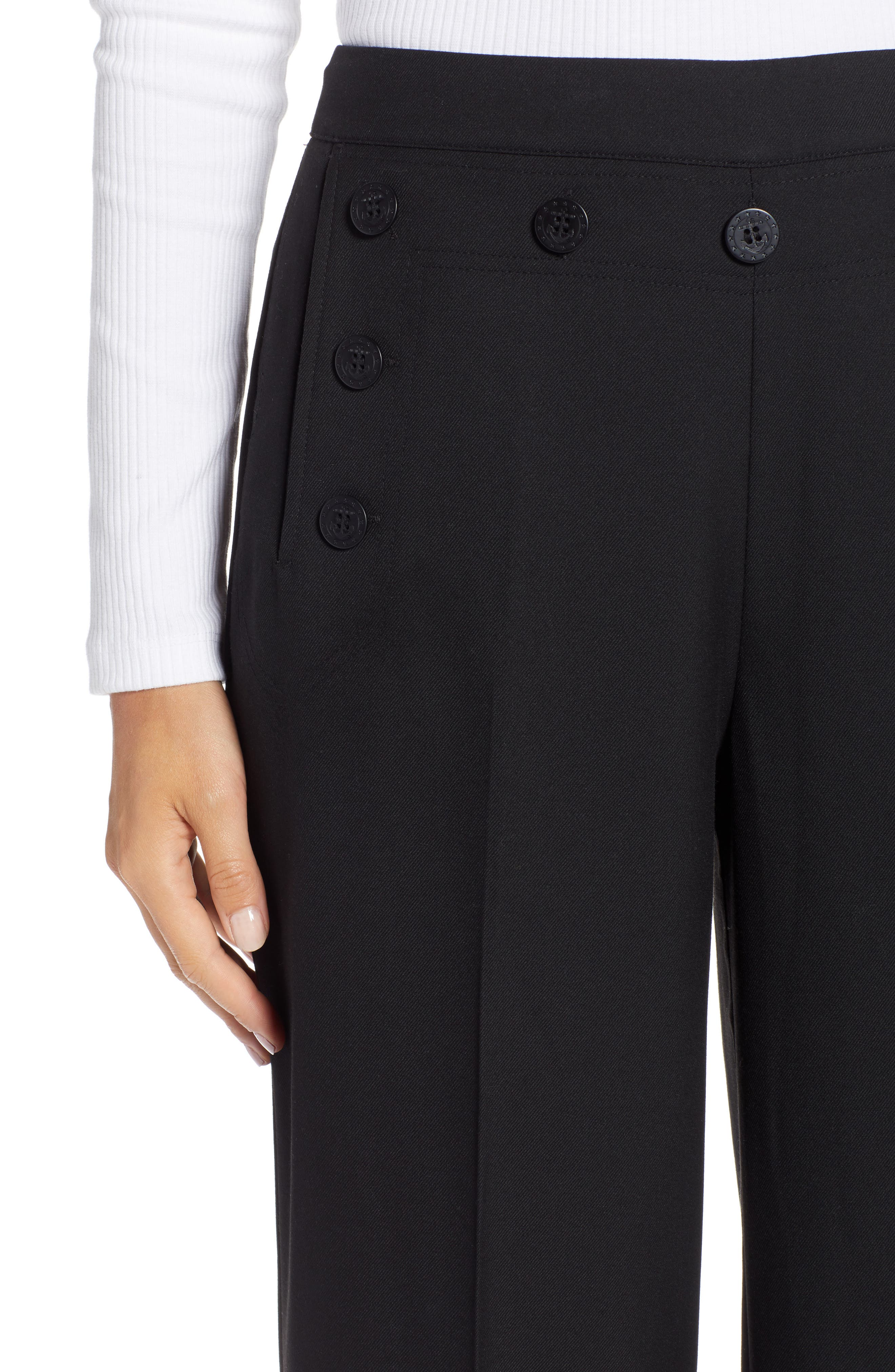 Button Detail Wide Leg Sailor Pants,                             Alternate thumbnail 4, color,                             001