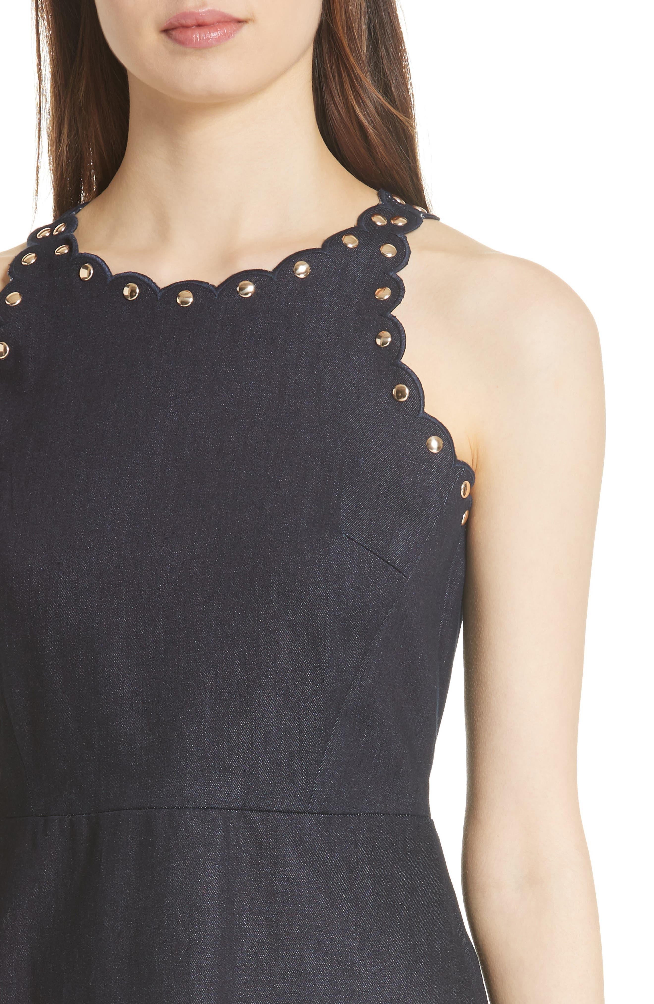 rivet detail denim fit & flare dress,                             Alternate thumbnail 4, color,                             INDIGO