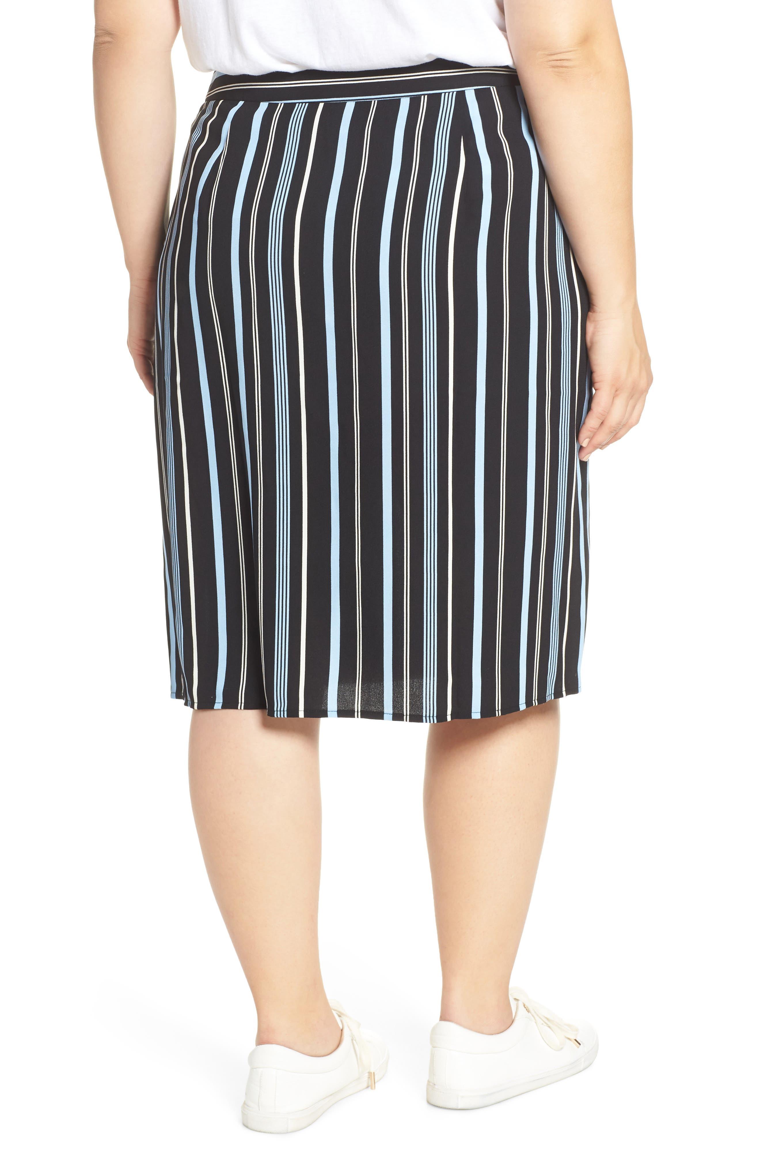 Button Wrap Skirt,                             Alternate thumbnail 8, color,                             BLACK MULTI COLORED STRIPE