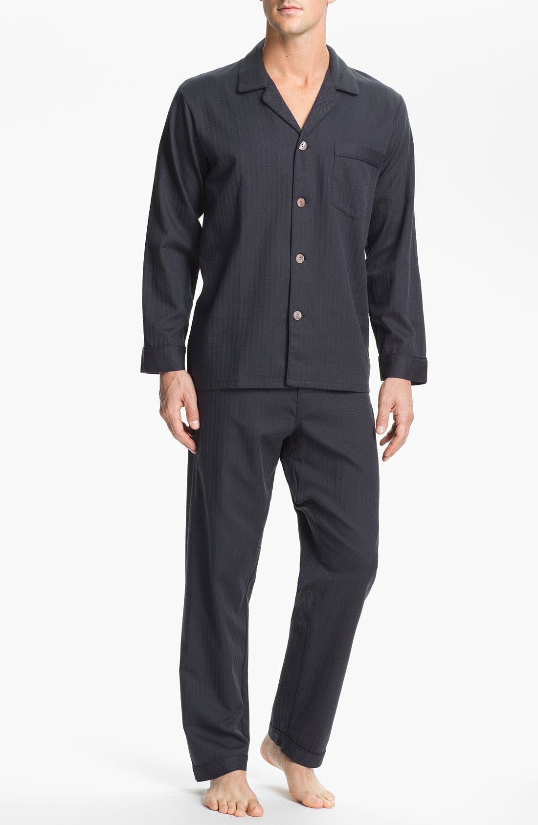 Herringbone Cotton Pajamas, Main, color, LEAD
