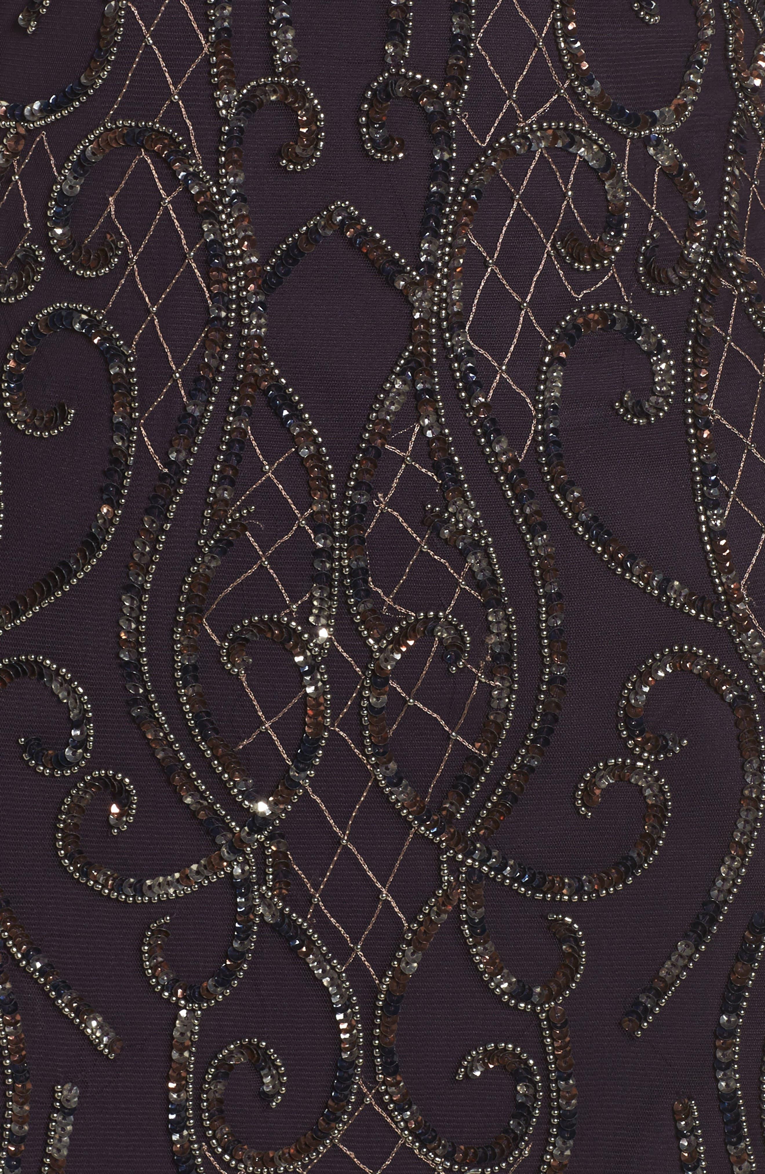 Embellished V-Neck Gown,                             Alternate thumbnail 5, color,                             502