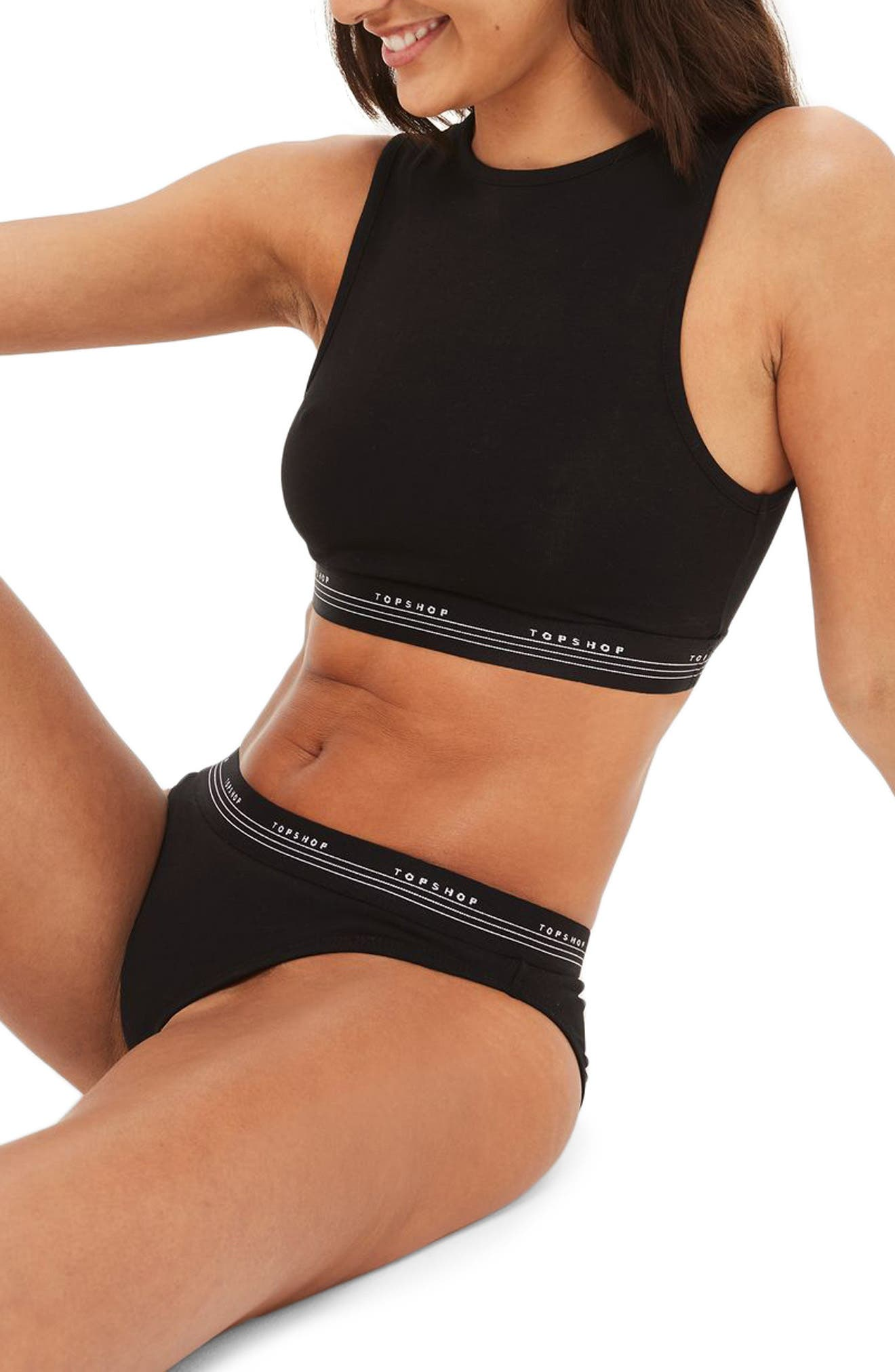 TOPSHOP,                             Sporty Panties,                             Alternate thumbnail 4, color,                             001
