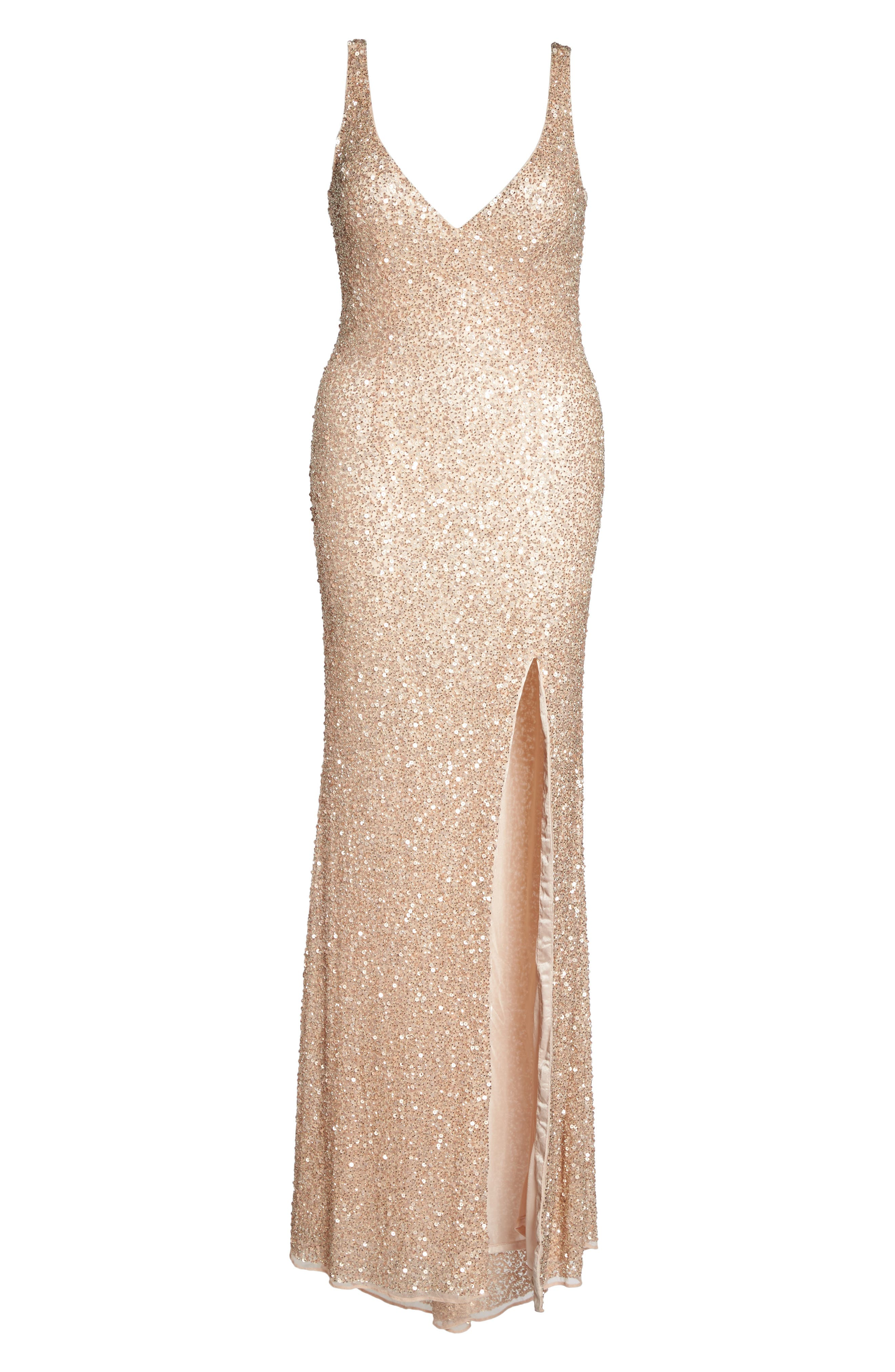 Front Slit Sequin Gown,                             Alternate thumbnail 12, color,