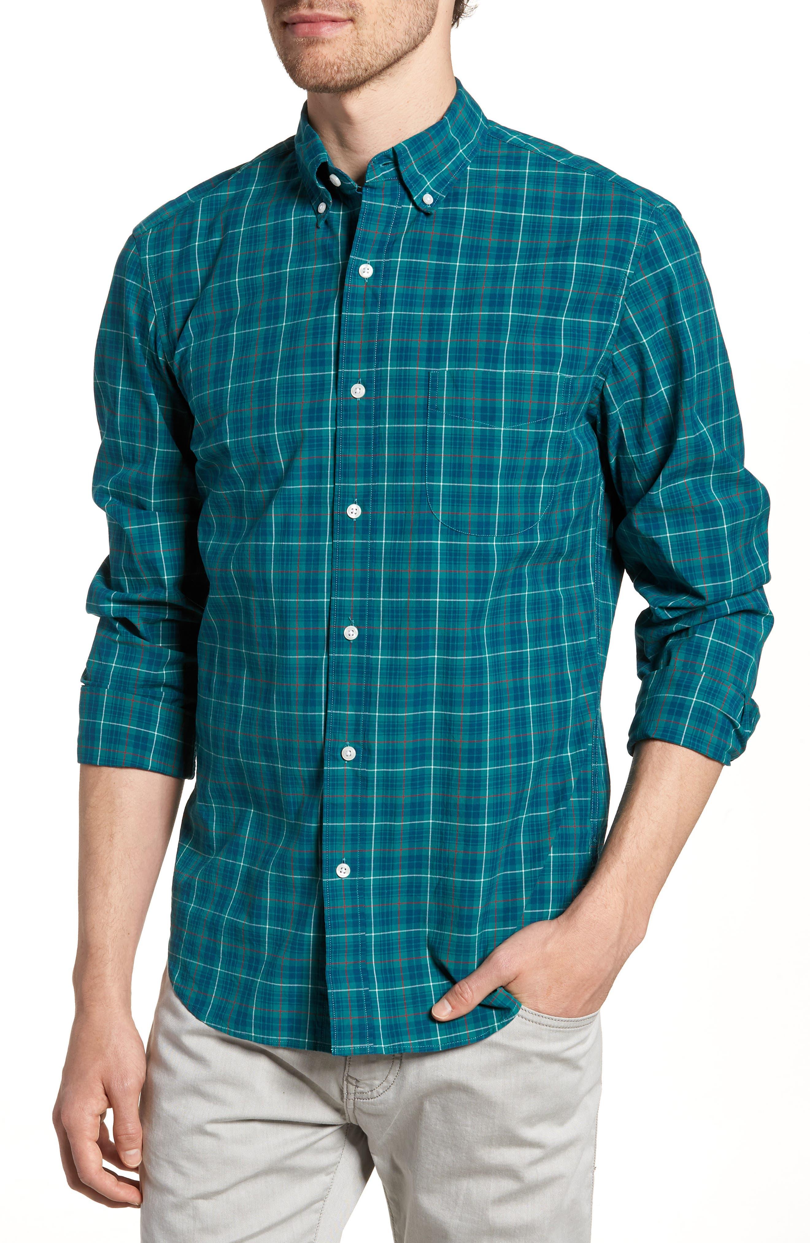 Slim Fit Stretch Secret Wash Plaid Sport Shirt,                         Main,                         color,