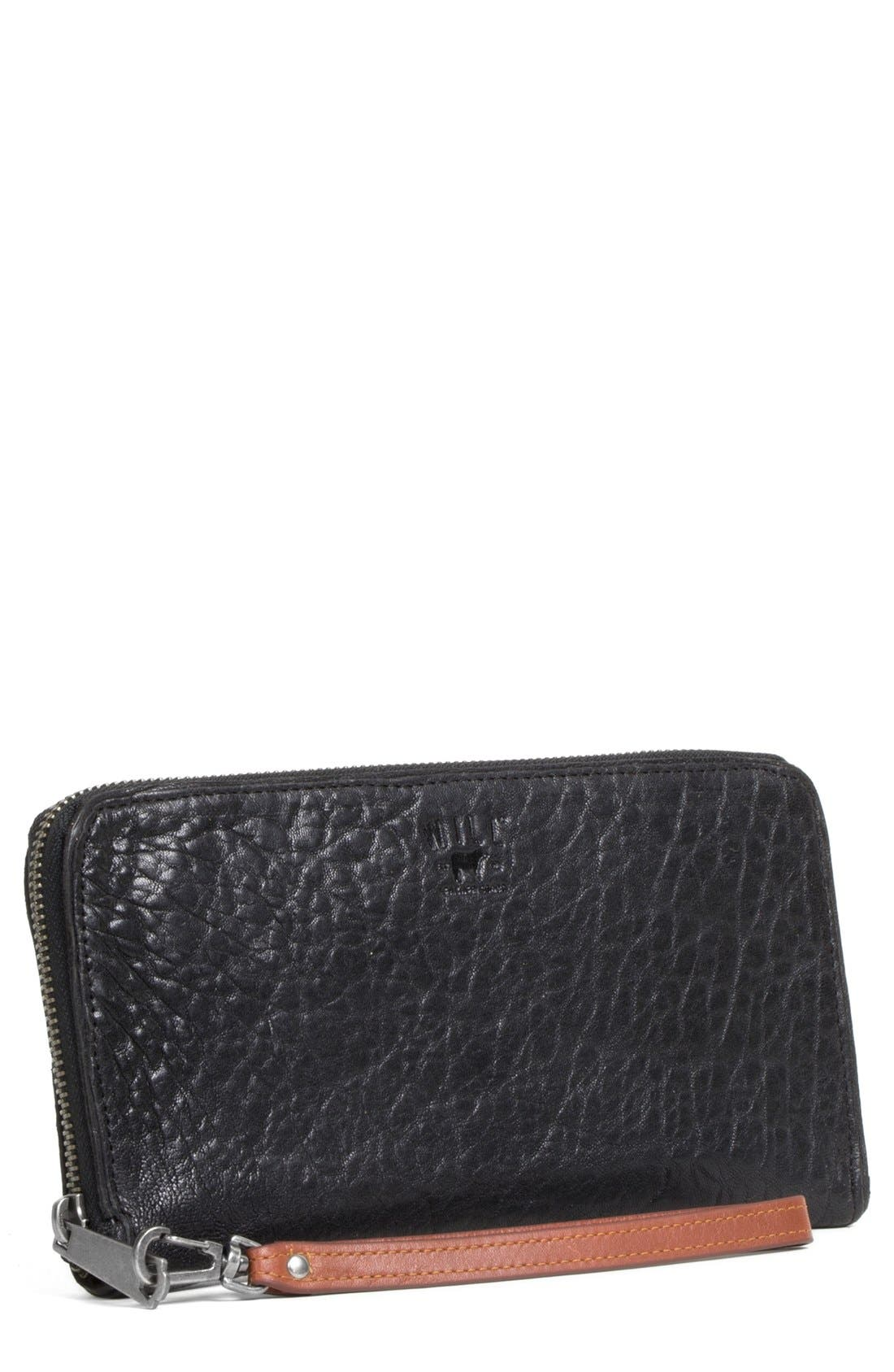 'Imogen' Washed Italian Lambskin Leather Checkbook Clutch,                             Main thumbnail 1, color,                             015