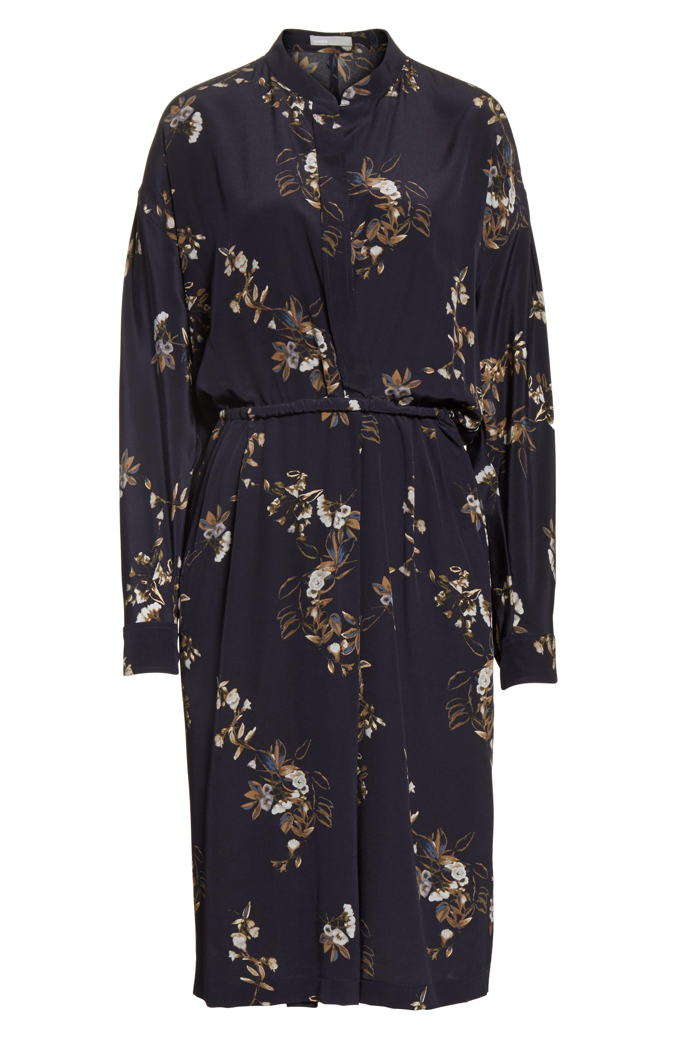 Silk Floral Shirtdress,                             Alternate thumbnail 6, color,