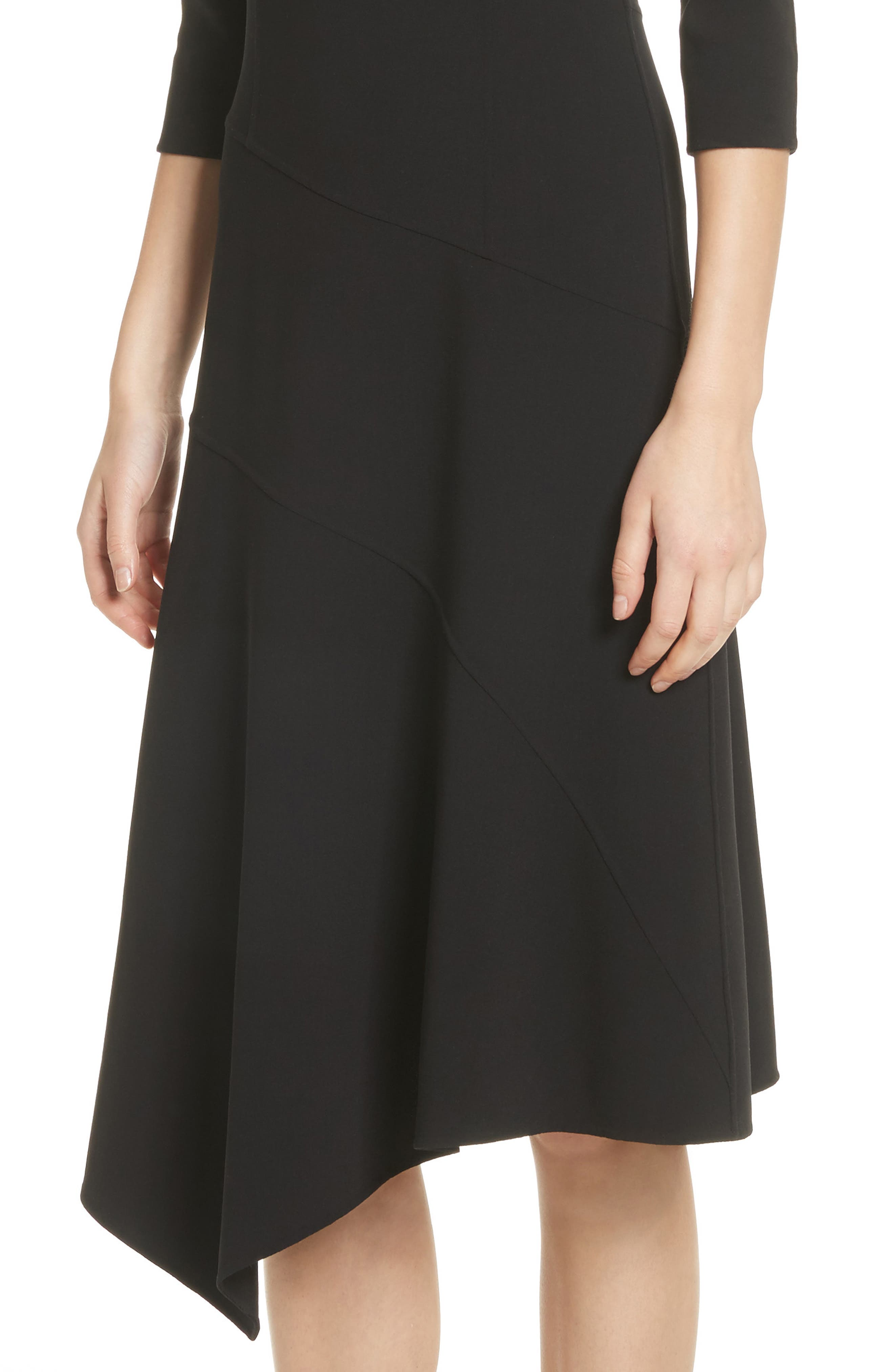 Stretch Wool Asymmetrical Dress,                             Alternate thumbnail 4, color,                             001
