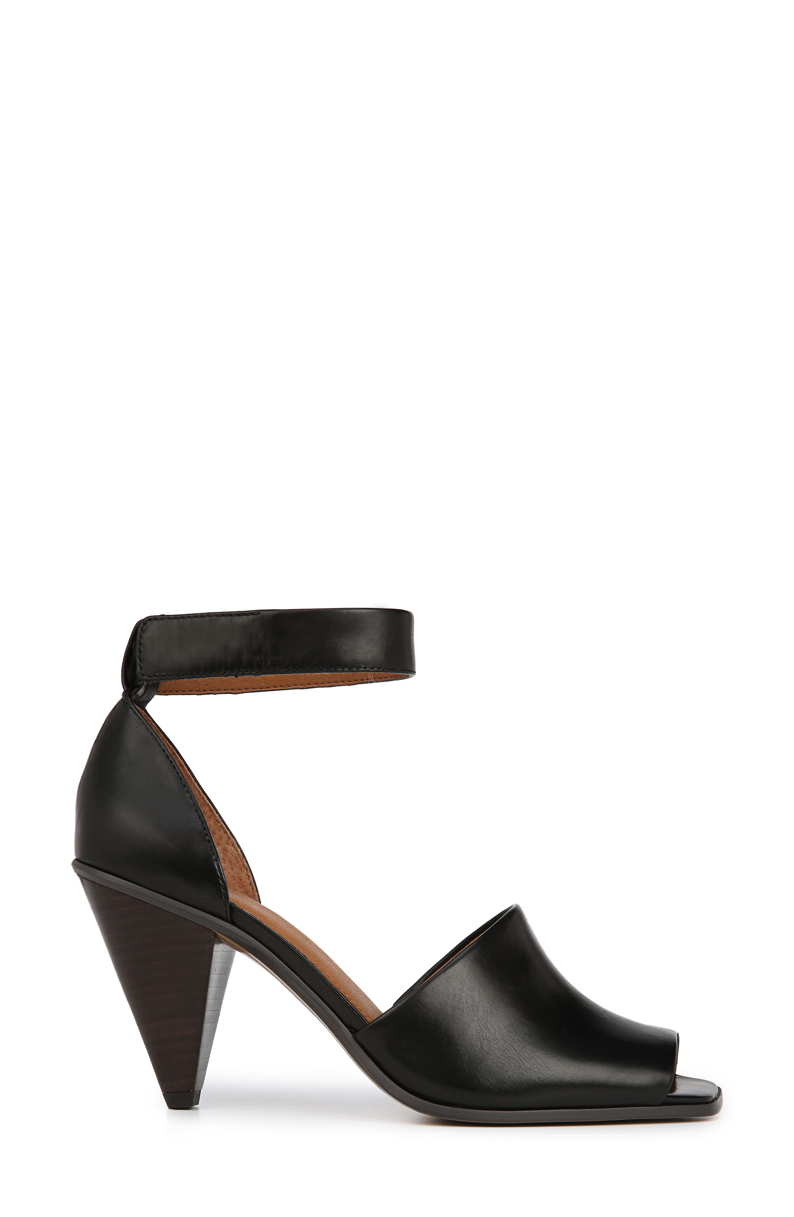 Ankle Strap Sandal,                             Alternate thumbnail 3, color,                             BLACK FOULARD LEATHER