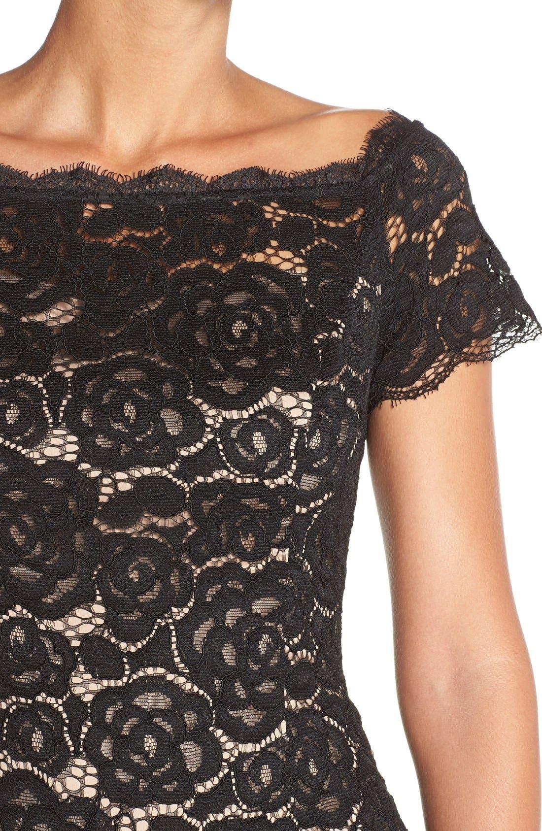 Off the Shoulder Lace Sheath Dress,                             Alternate thumbnail 6, color,                             003