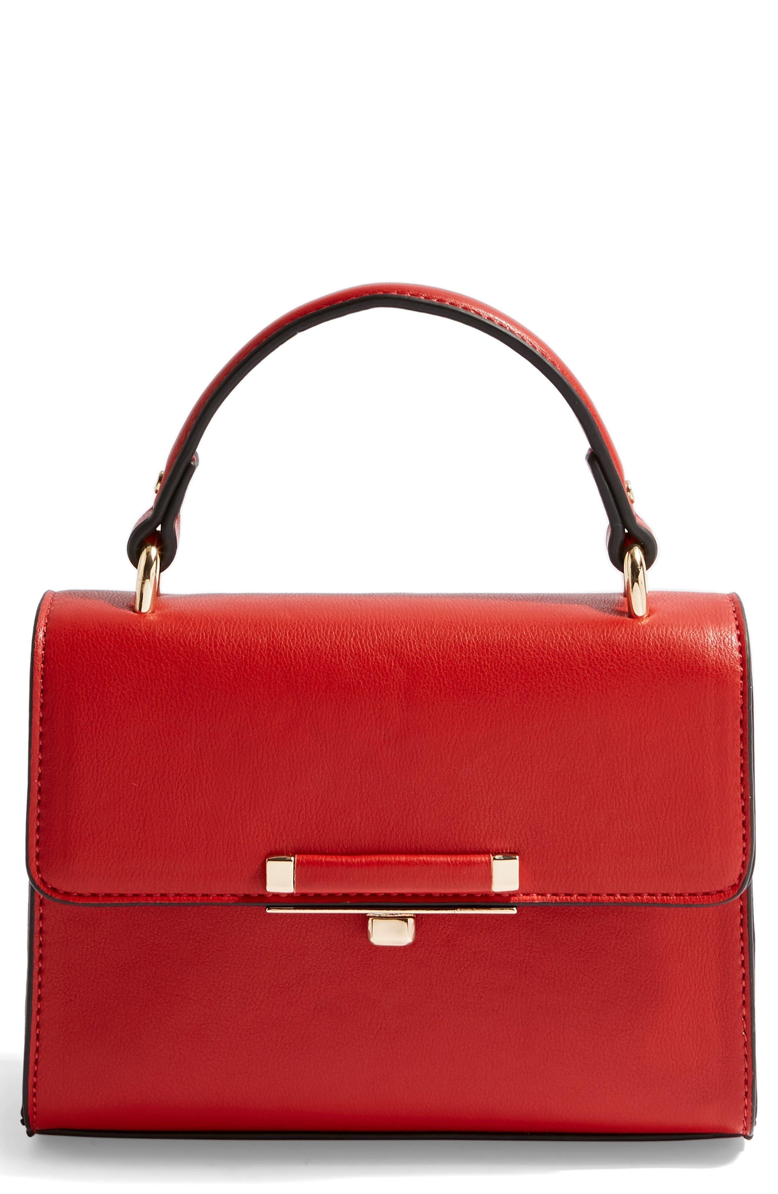 TOPSHOP Mini Marissa Top Handle Bag, Main, color, RED