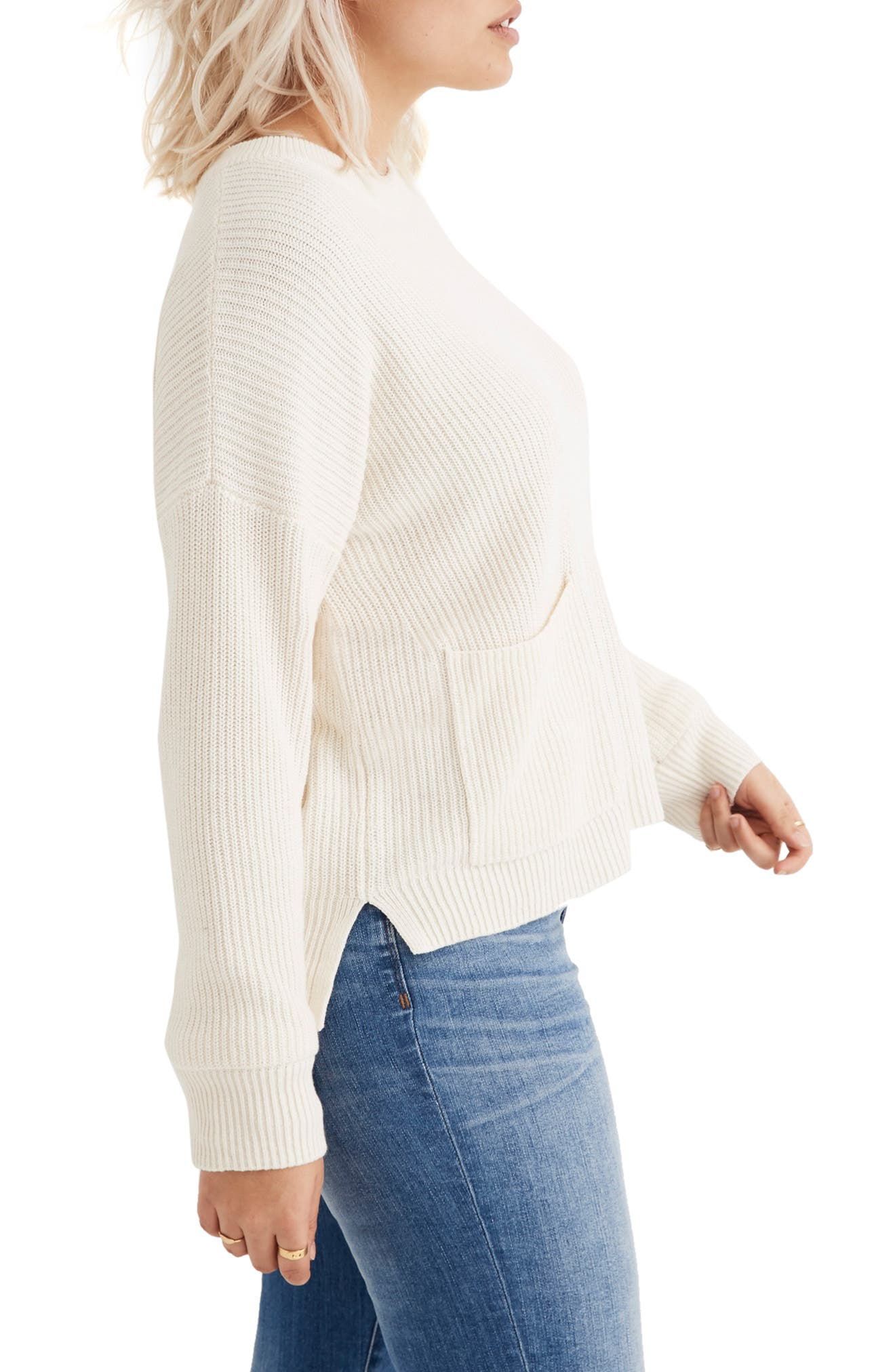 Patch Pocket Pullover Sweater,                             Alternate thumbnail 6, color,                             BRIGHT IVORY