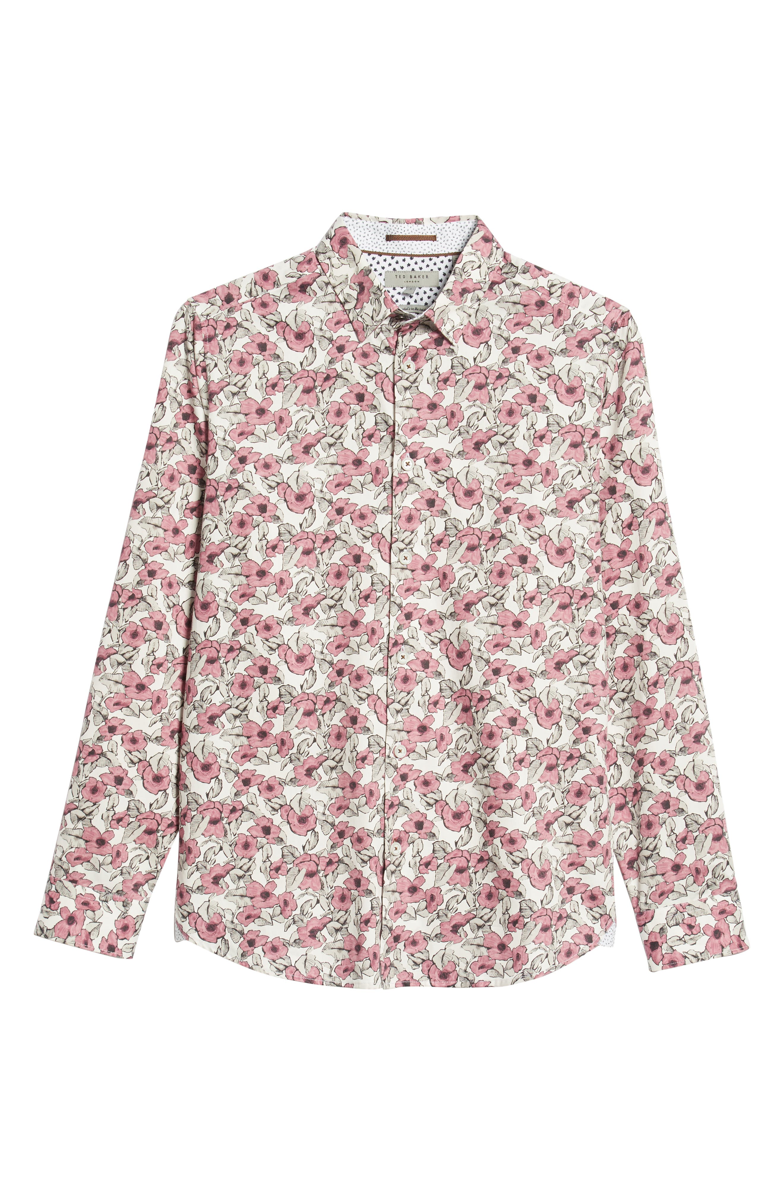 Croyden Slim Fit Floral Sport Shirt,                             Alternate thumbnail 5, color,                             PINK