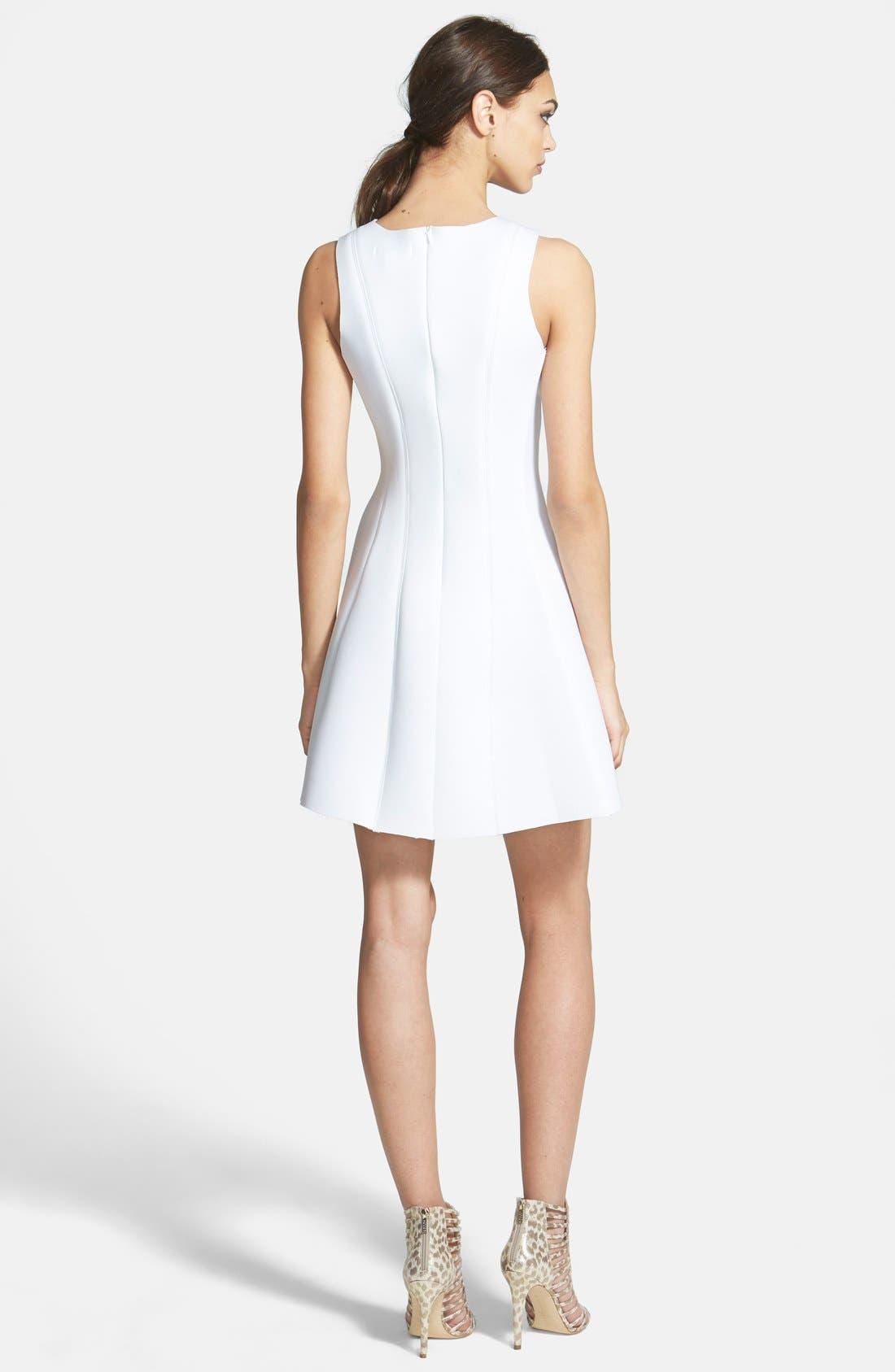 Sleeveless Scuba Fit & Flare Dress,                             Alternate thumbnail 2, color,                             100