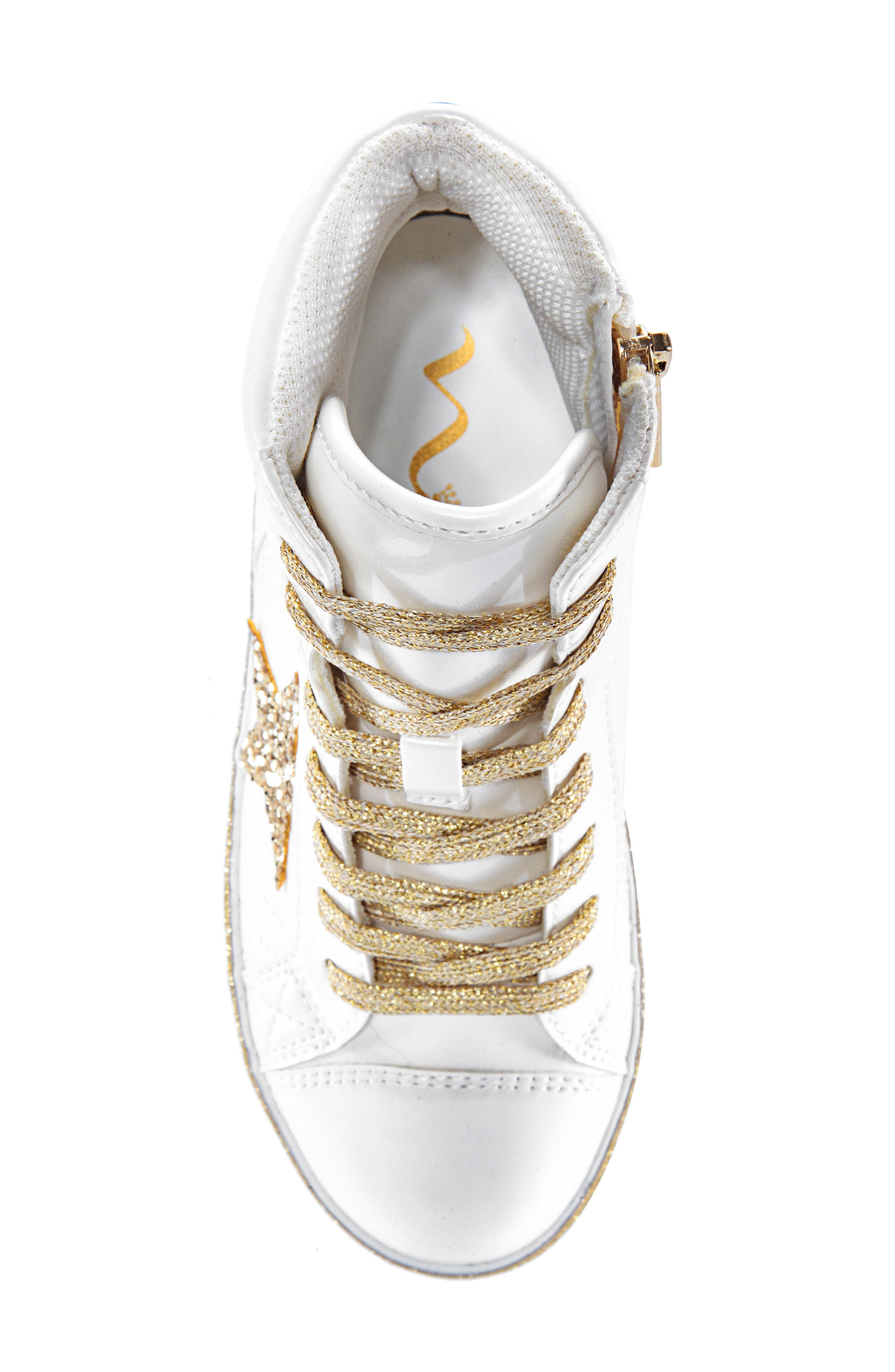 Jesy Glitter High Top Sneaker,                             Alternate thumbnail 5, color,                             WHITE PEARLIZED PATENT