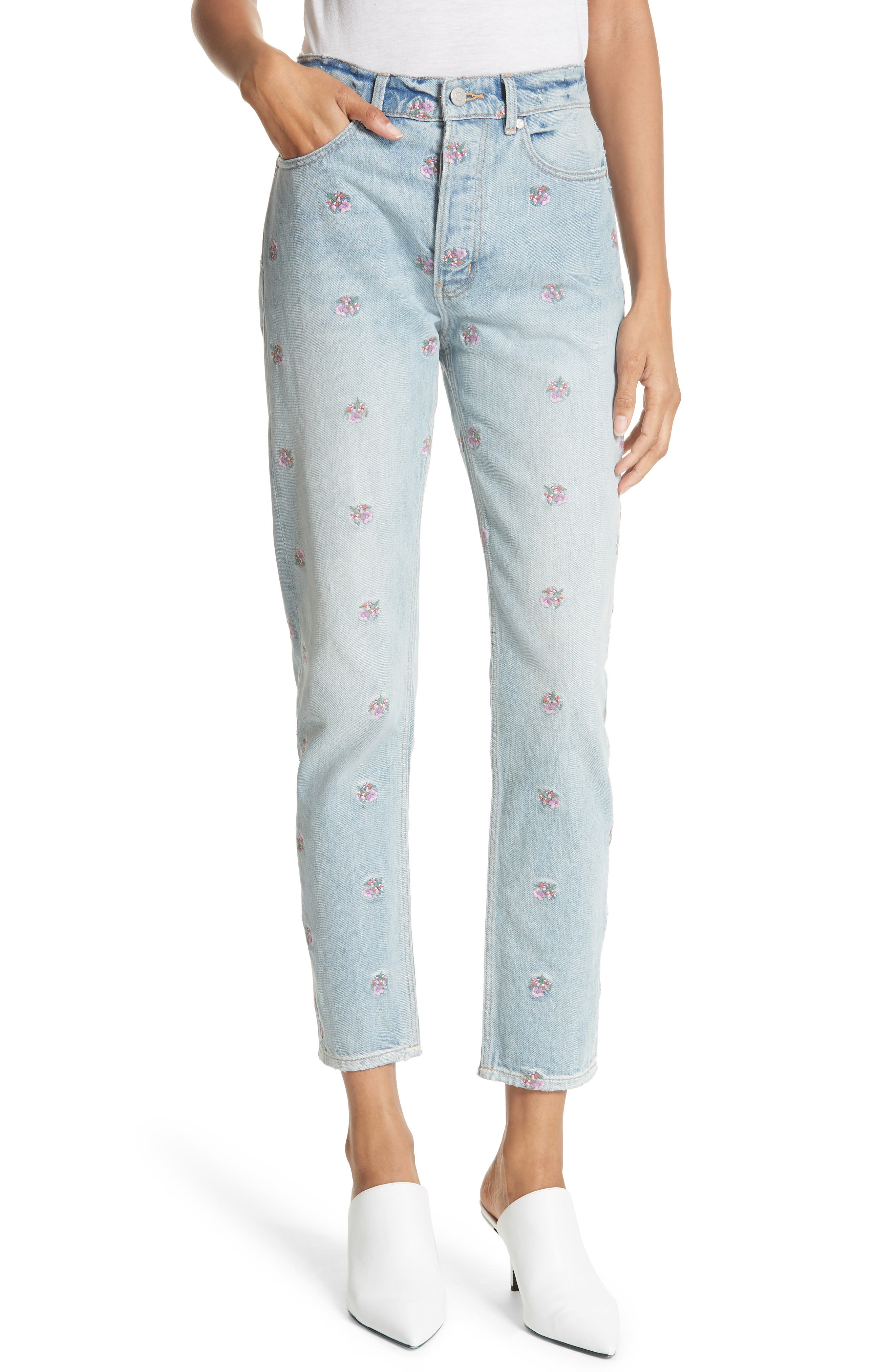 Beatrice Embroidered Crop Straight Leg Jeans,                         Main,                         color, 459
