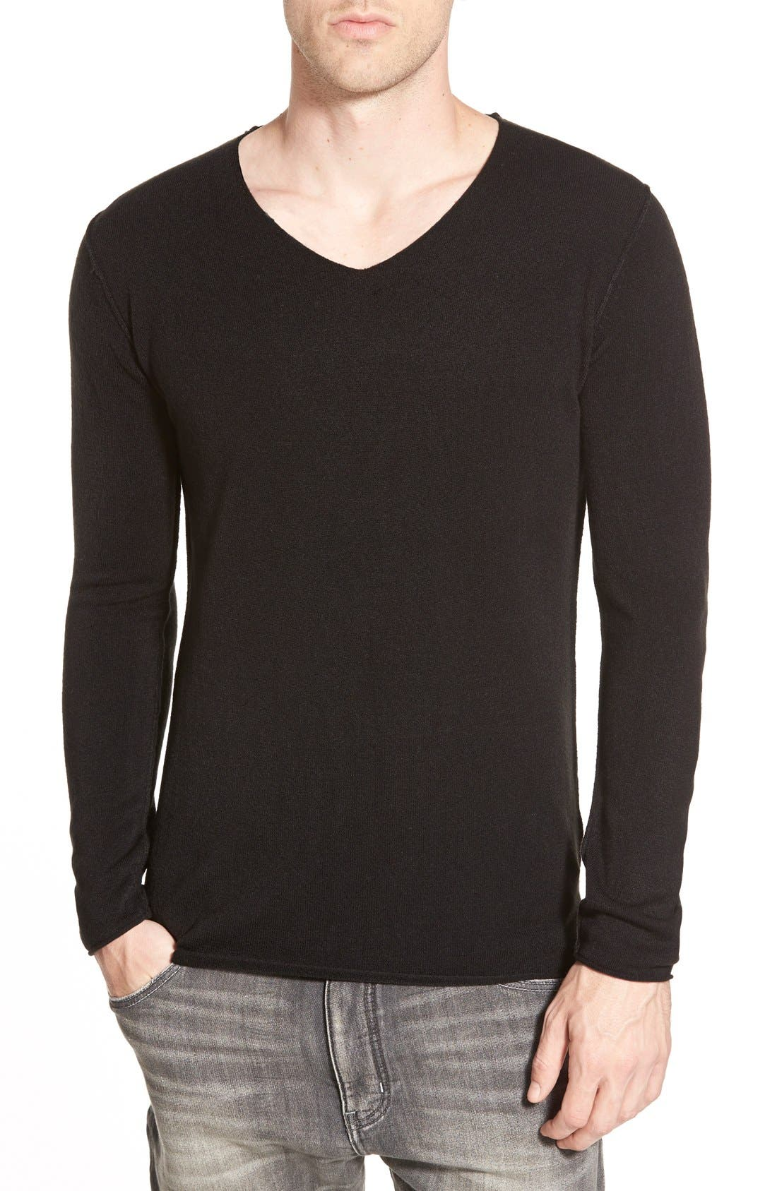 AZUL BY MOUSSY,                             V-Neck Sweater,                             Main thumbnail 1, color,                             001