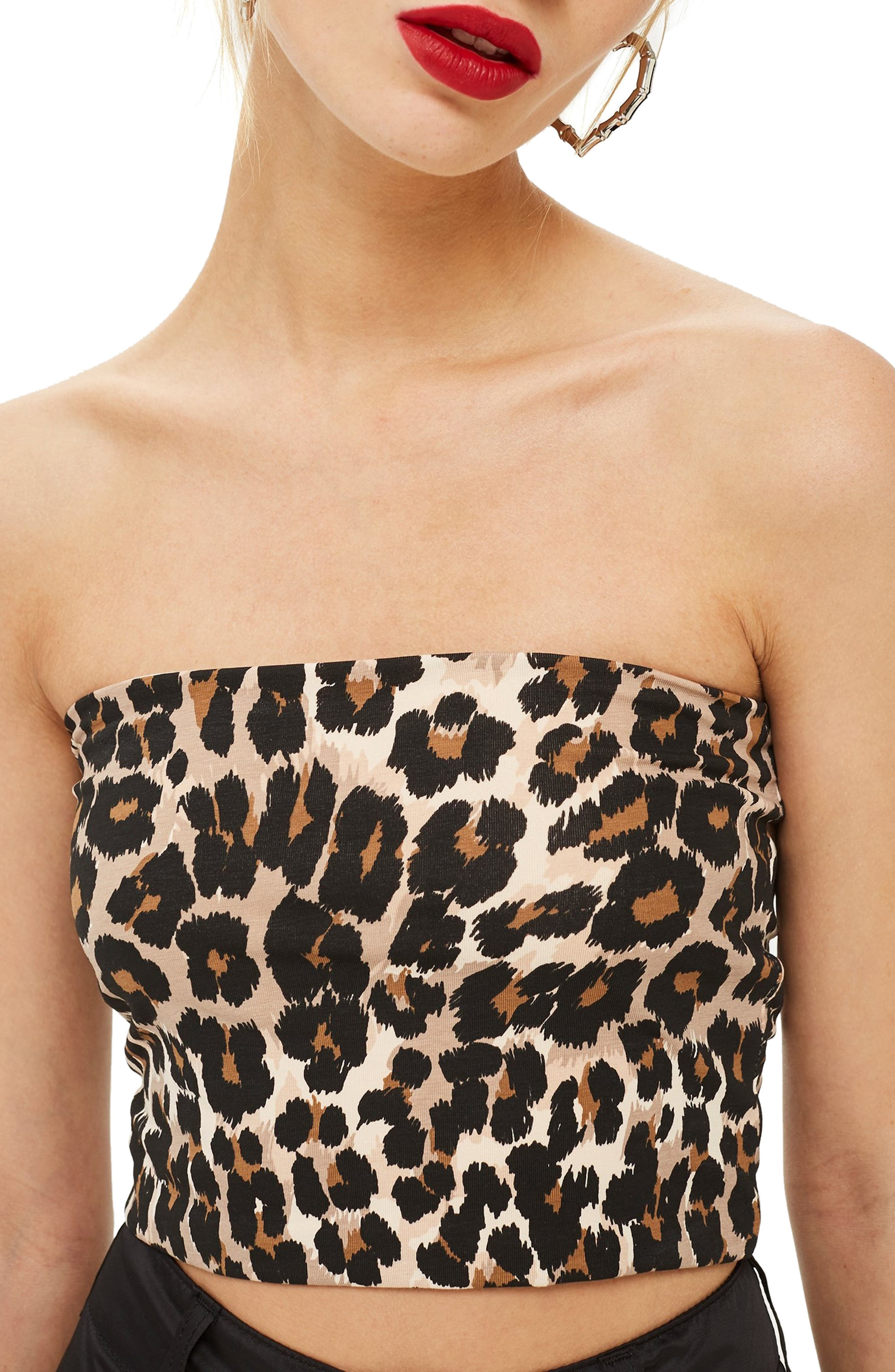 TOPSHOP Leopard Bandeau Top, Main, color, 210