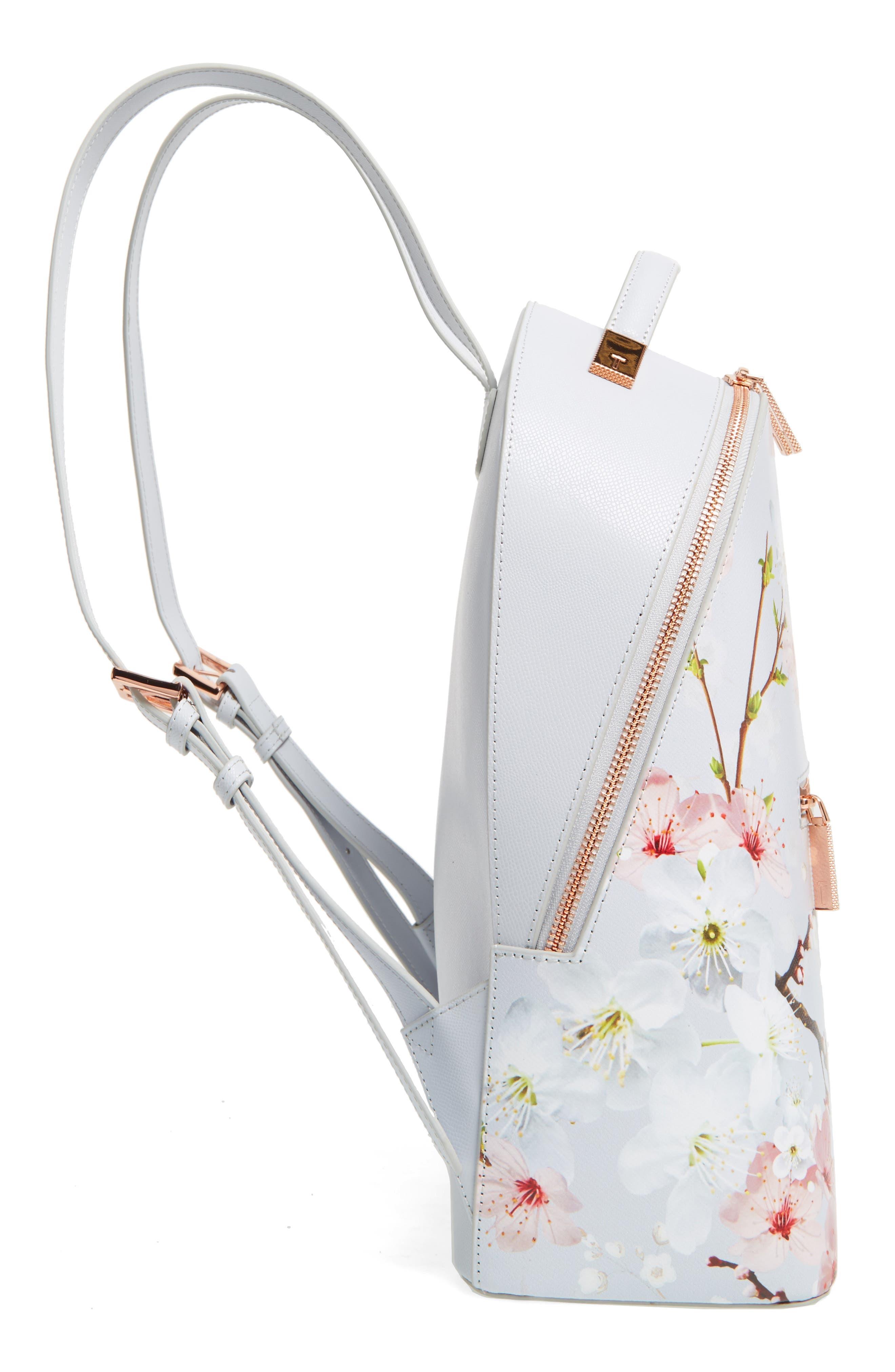 Flower Print Leather Backpack,                             Alternate thumbnail 5, color,                             020