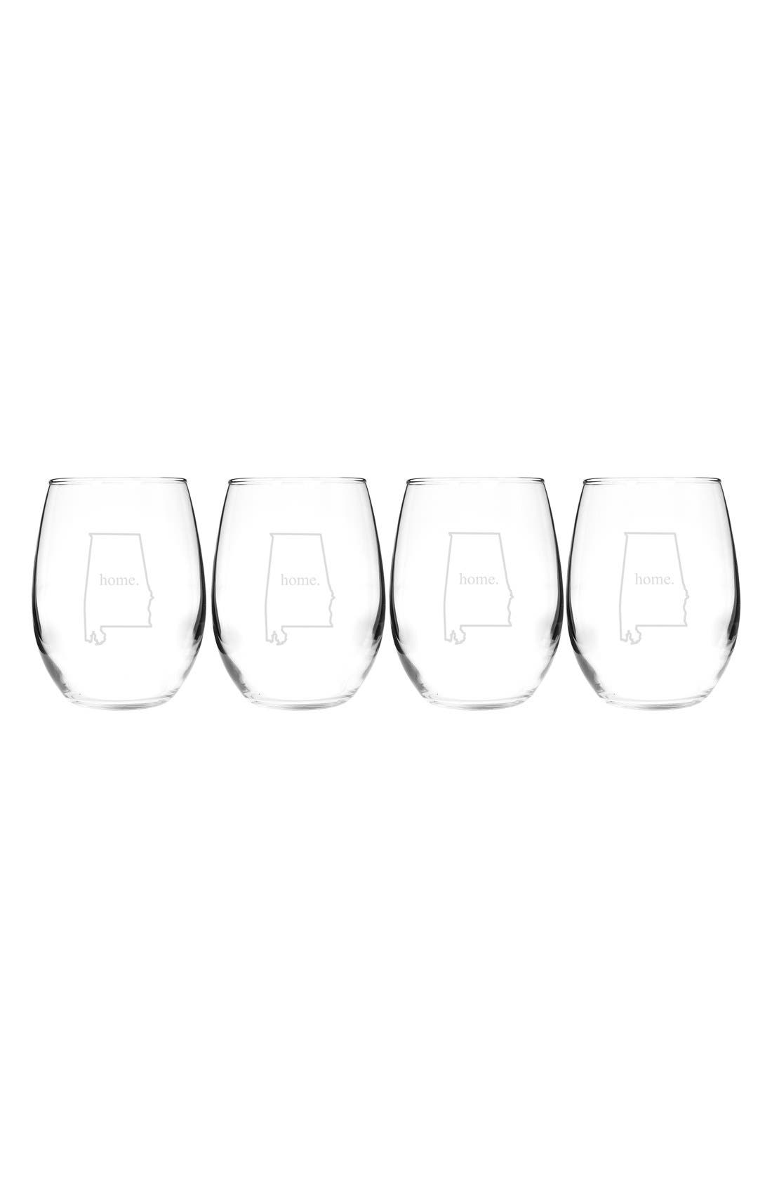 Home State Set of 4 Stemless Wine Glasses,                             Main thumbnail 3, color,