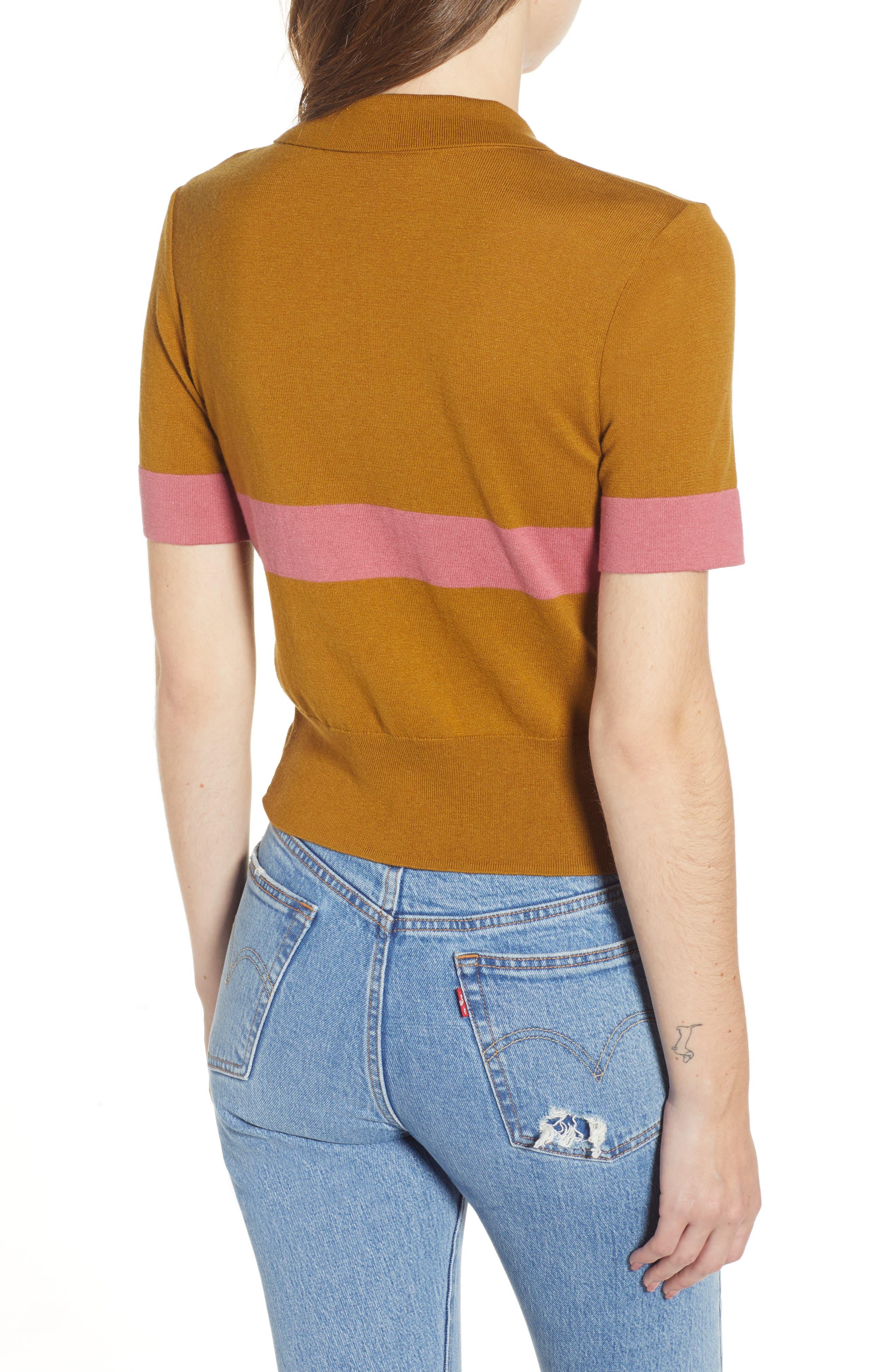 BP., Stripe Polo Sweater, Alternate thumbnail 2, color, BROWN BRONZE AIME STRIPE