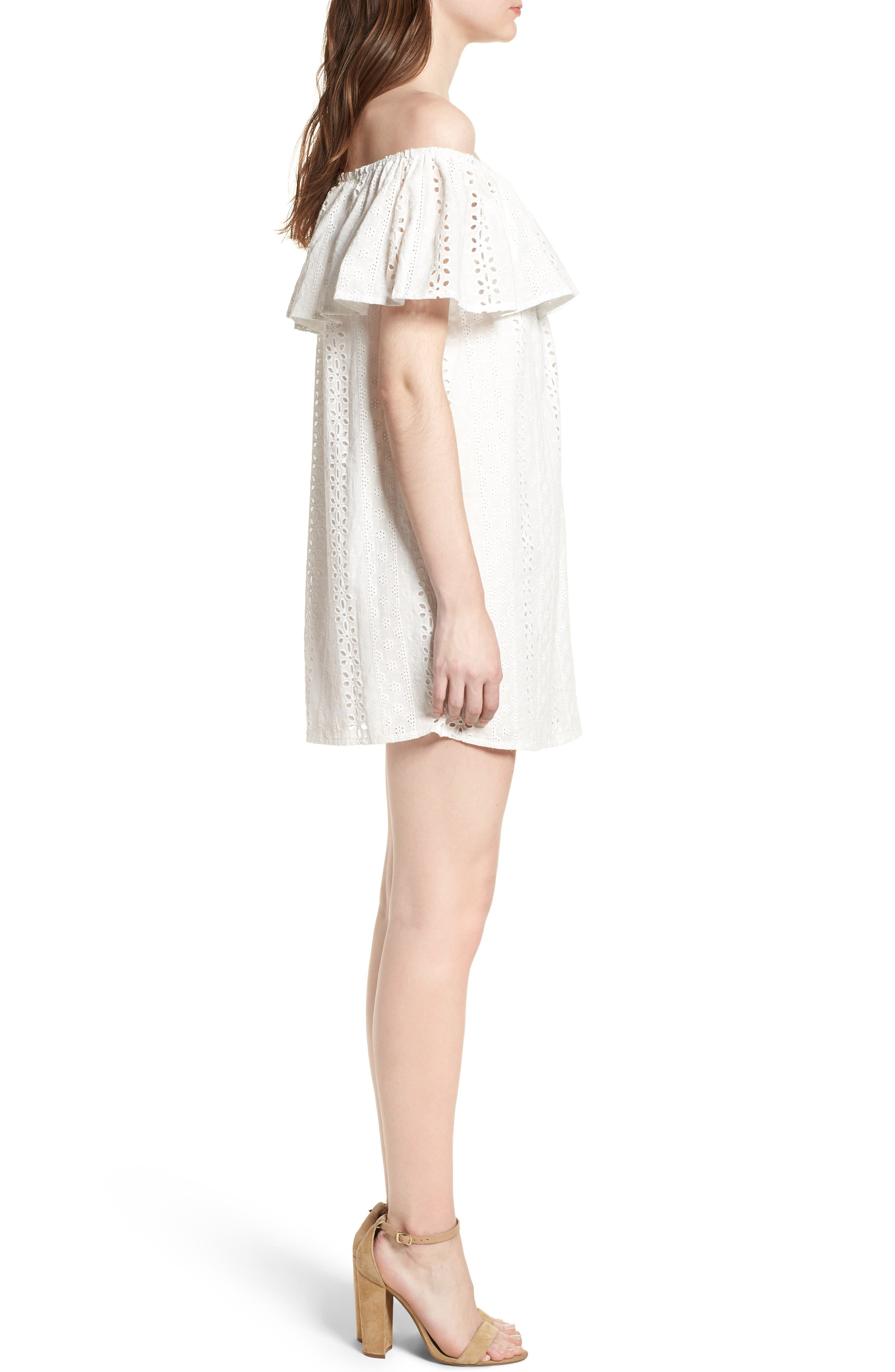 Bishop + Young Eyelet Ruffle Off the Shoulder Dress,                             Alternate thumbnail 3, color,                             100