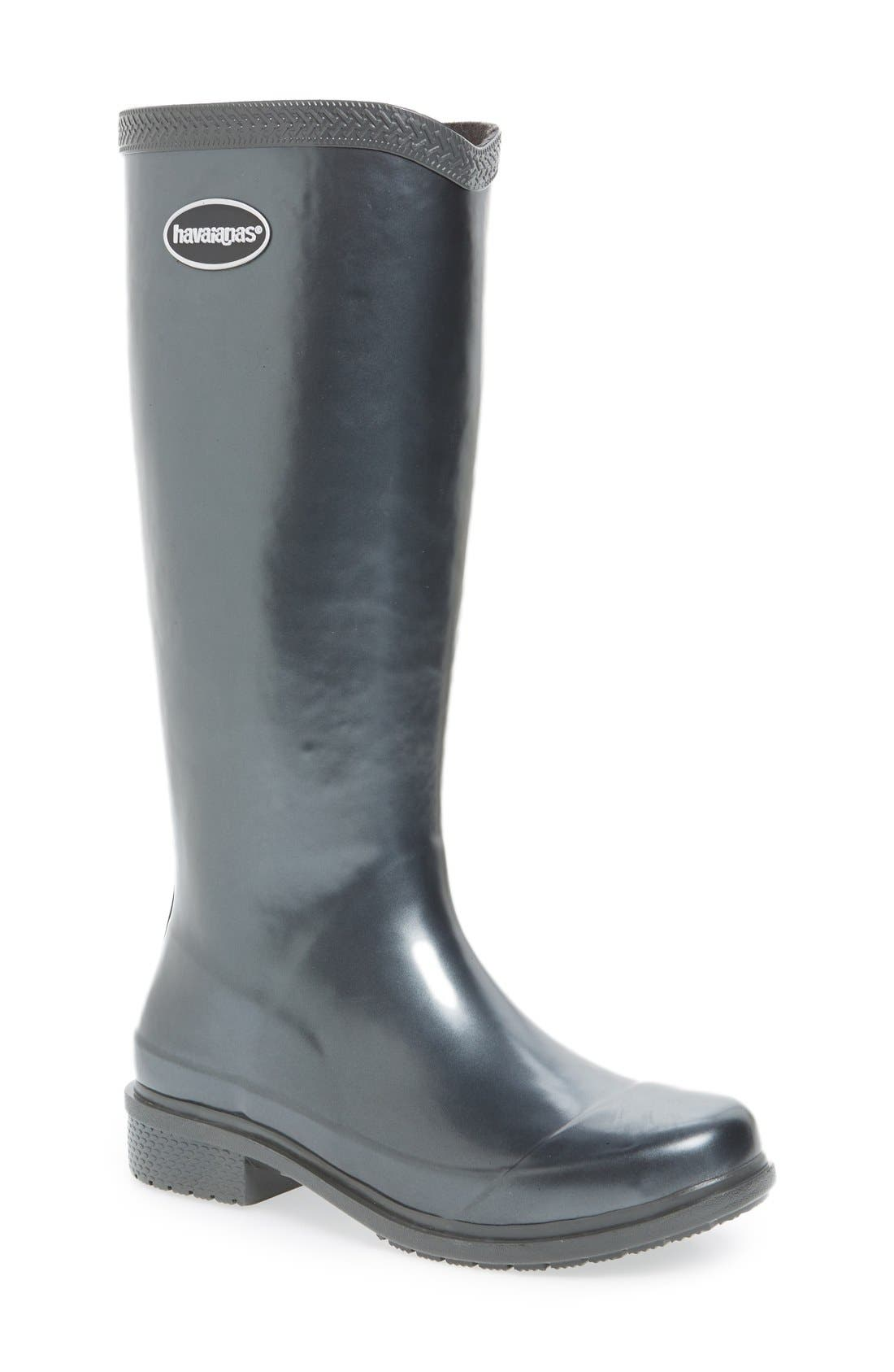 'Galochas Hi Metallic' Waterproof Rain Boot,                             Main thumbnail 1, color,