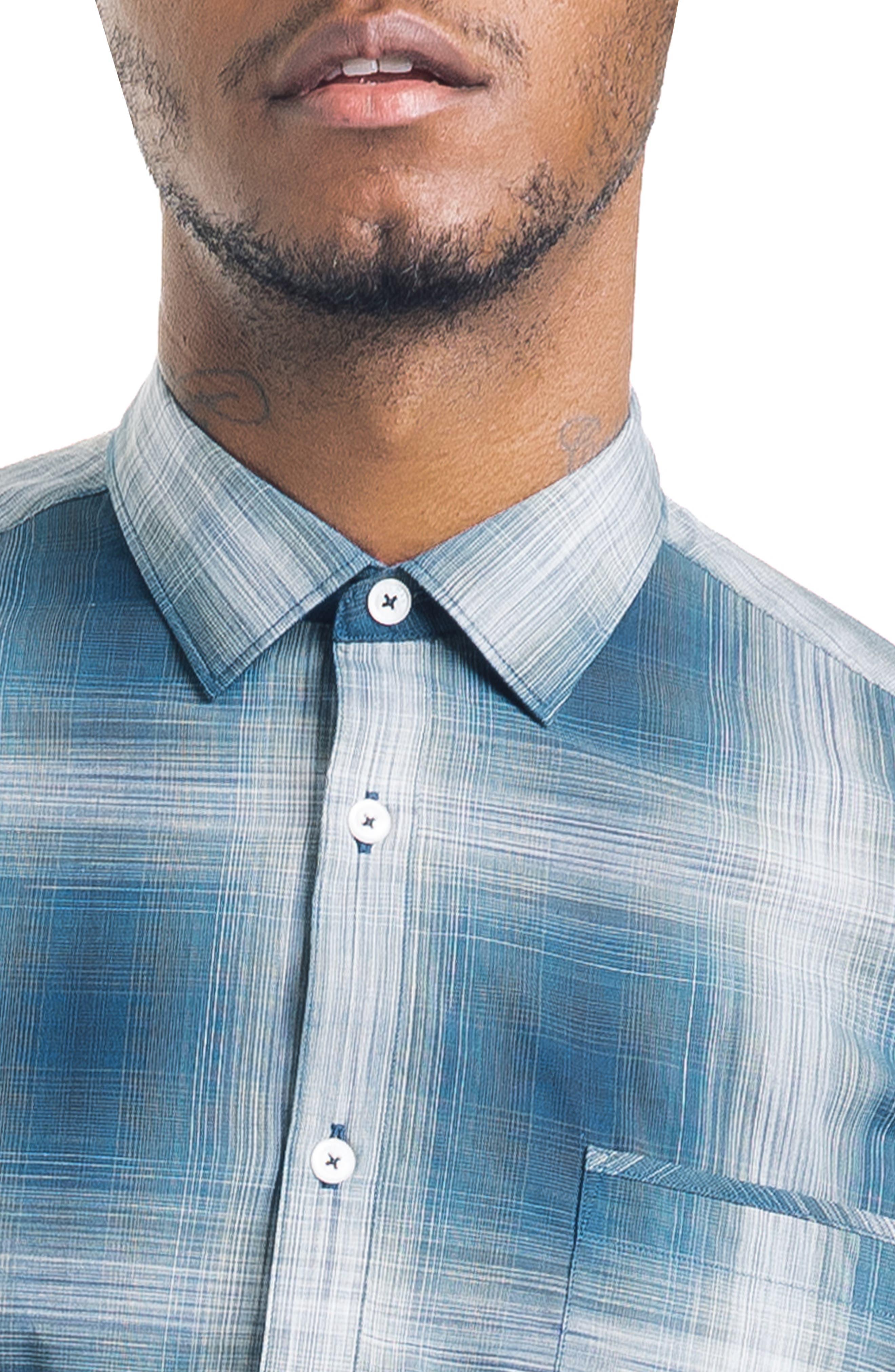 Bonsai Slim Fit Sport Shirt,                             Alternate thumbnail 4, color,                             SEA