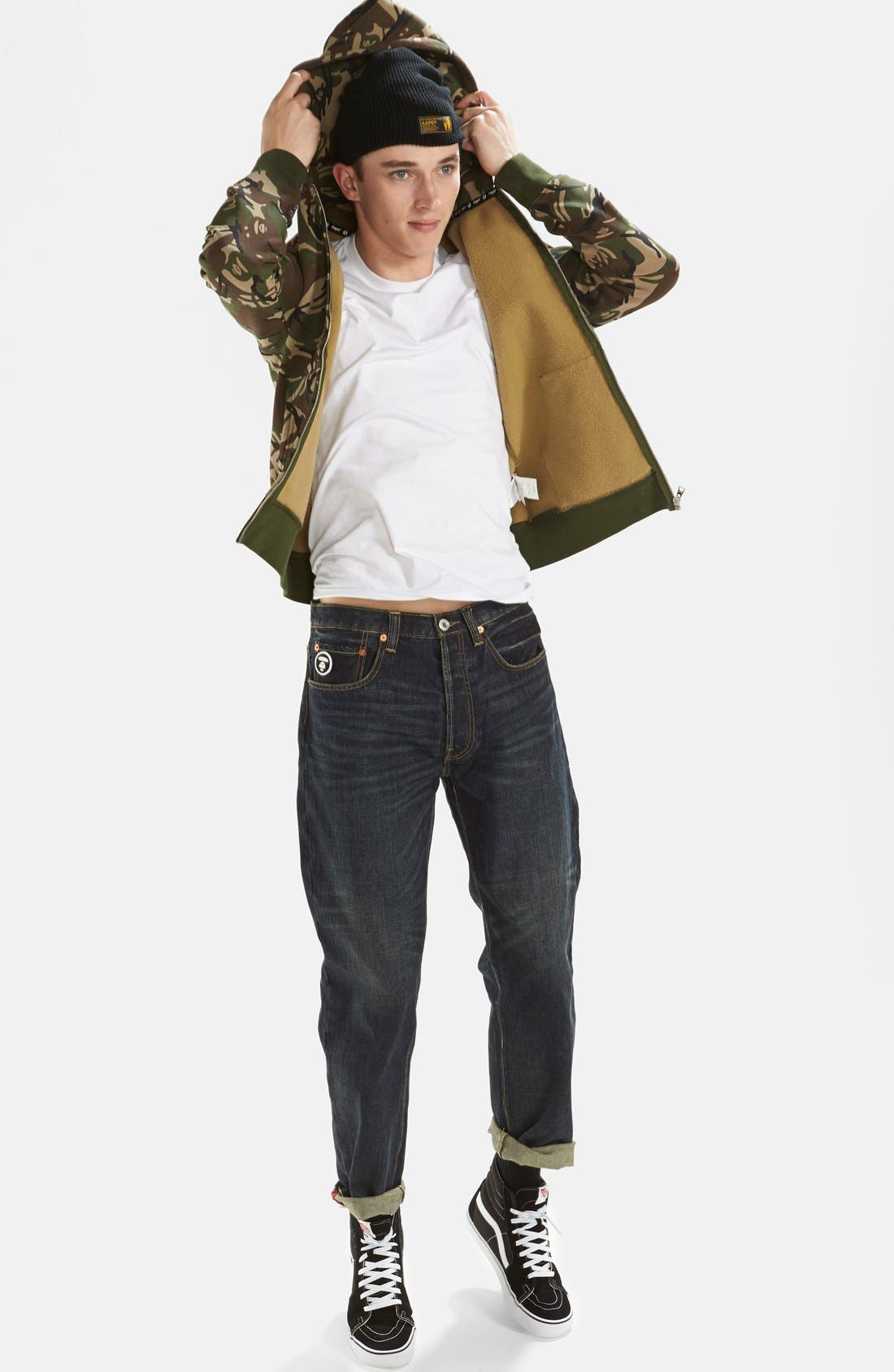 AAPE BY A BATHING APE<SUP>®</SUP>,                             Camo Full Zip Hoodie,                             Alternate thumbnail 6, color,                             340