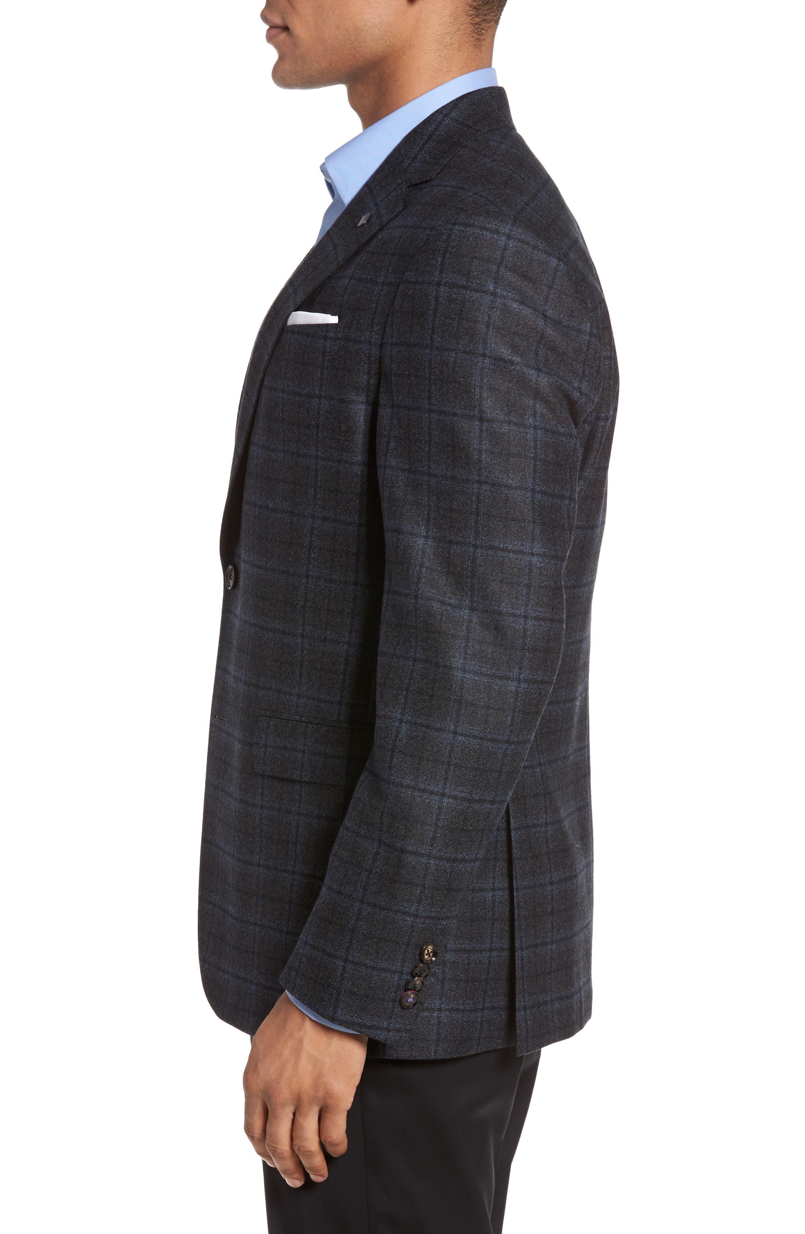 Konan Trim Fit Plaid Wool Sport Coat,                             Alternate thumbnail 3, color,                             020