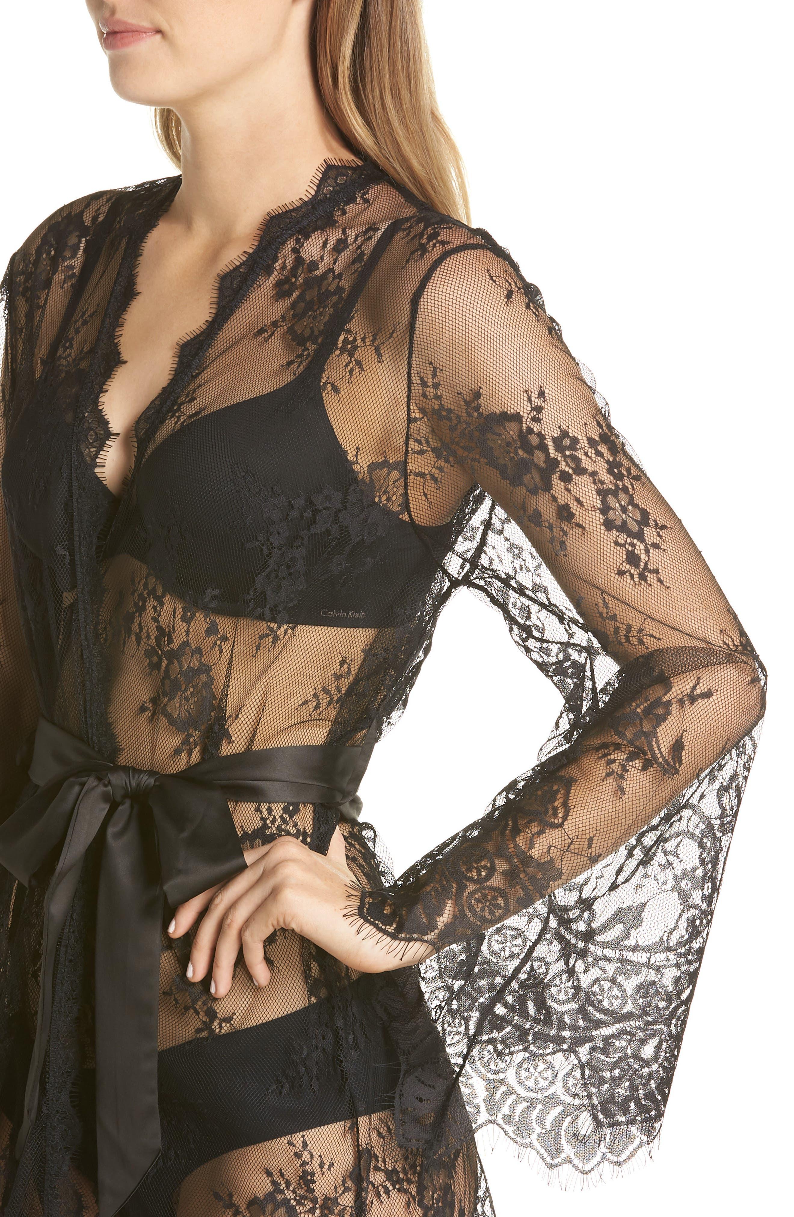 Saria Sheer Lace Robe,                             Alternate thumbnail 4, color,                             BLACK