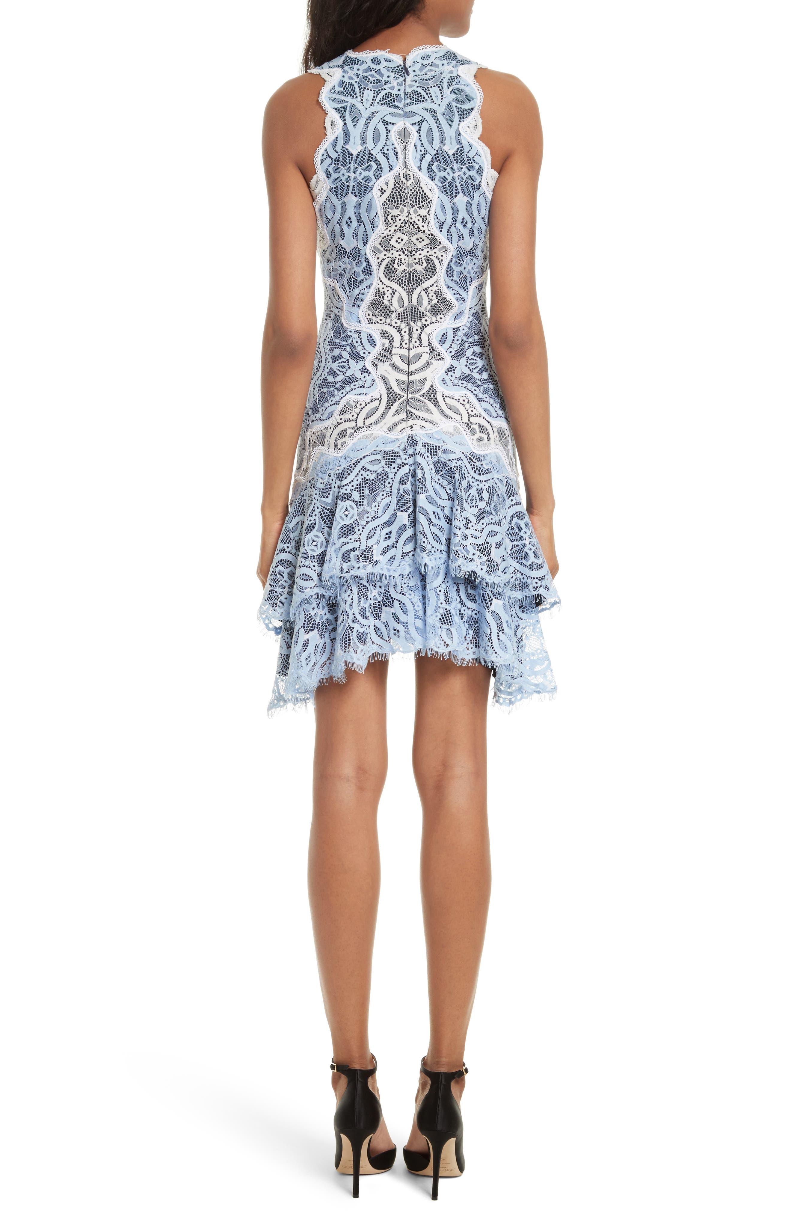 Two-Tone Lace Ruffle Hem Minidress,                             Alternate thumbnail 2, color,                             499